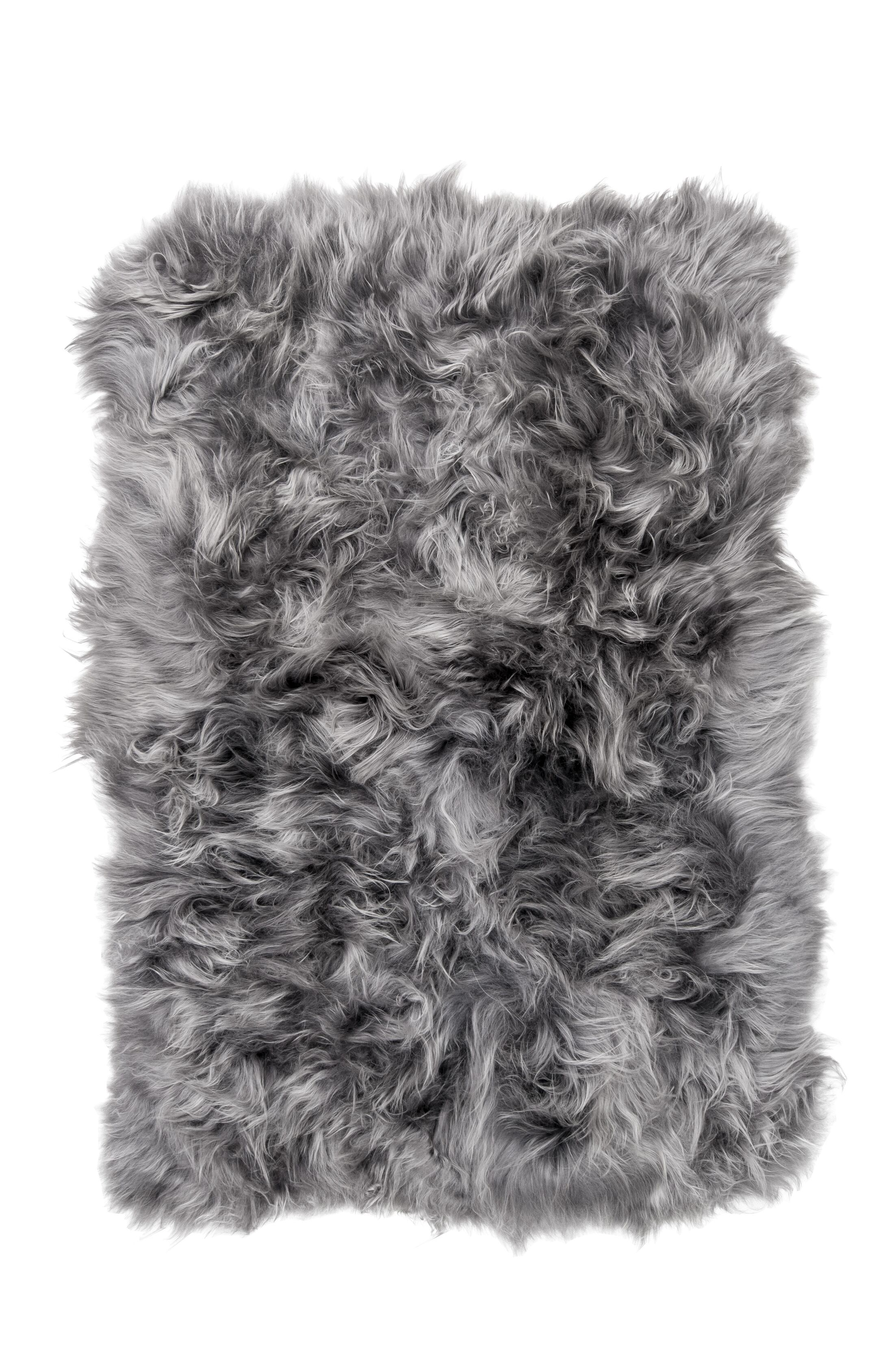 Cyrilla Hand-Woven Sheepskin Gray Brisa Area Rug