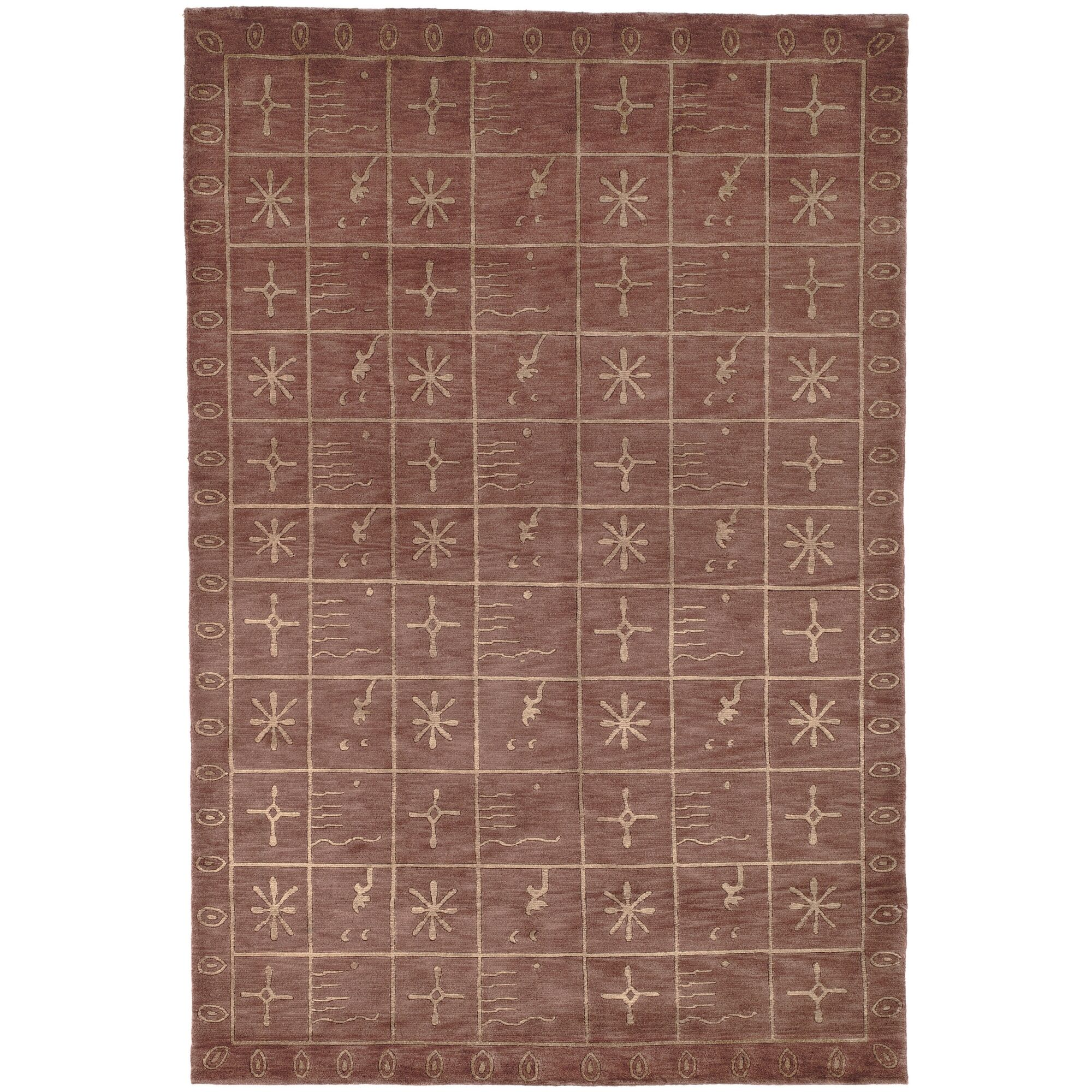 Plum Pictogram Brown Area Rug Rug Size: Rectangle 8' x 10'