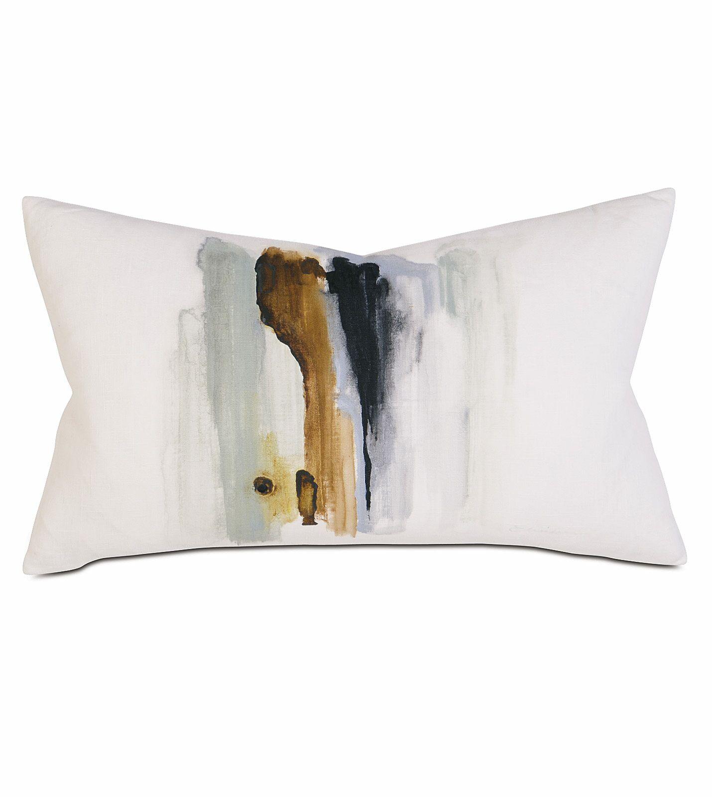 Laurel Hand-painted Breeze Shell Cotton Lumbar Pillow