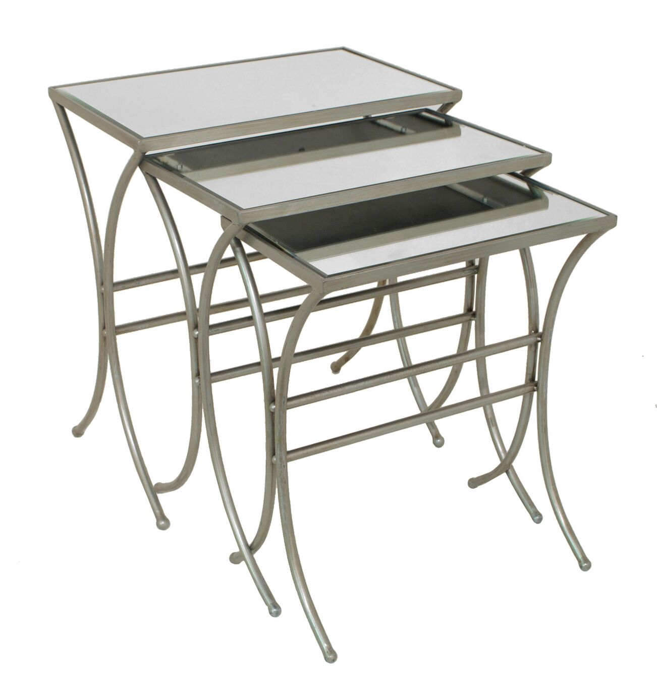 Modern Styled Mirror 3 Piece Nesting Tables