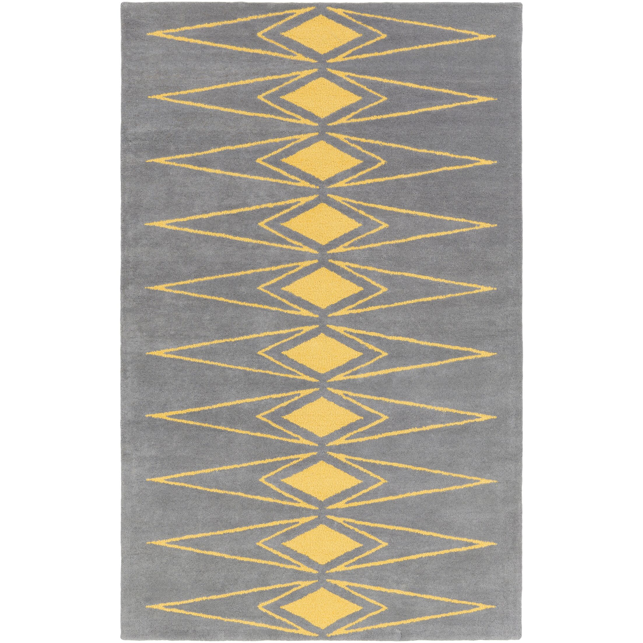 Hand-Tufted Gray/Yellow Area Rug Rug Size: Rectangle 8' x 10'