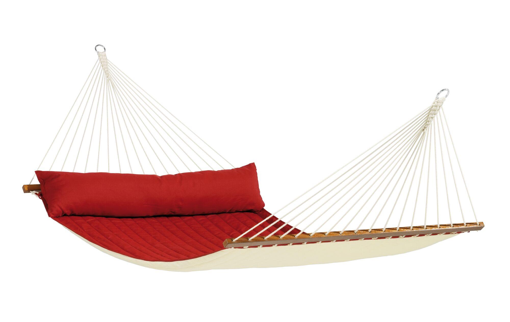 ALABAMA Weatherproof Kingsize Spreader Bar Rope Olefin Tree Hammock Color: Red Pepper
