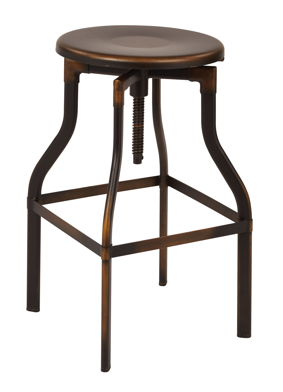 Eastvale Adjustable Height Swivel Bar Stool Finish: Antique Copper