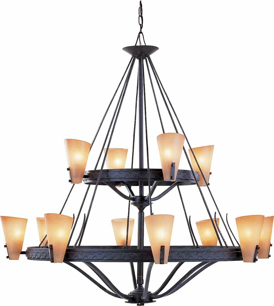 Lodge 12-Light Wagon Wheel Chandelier