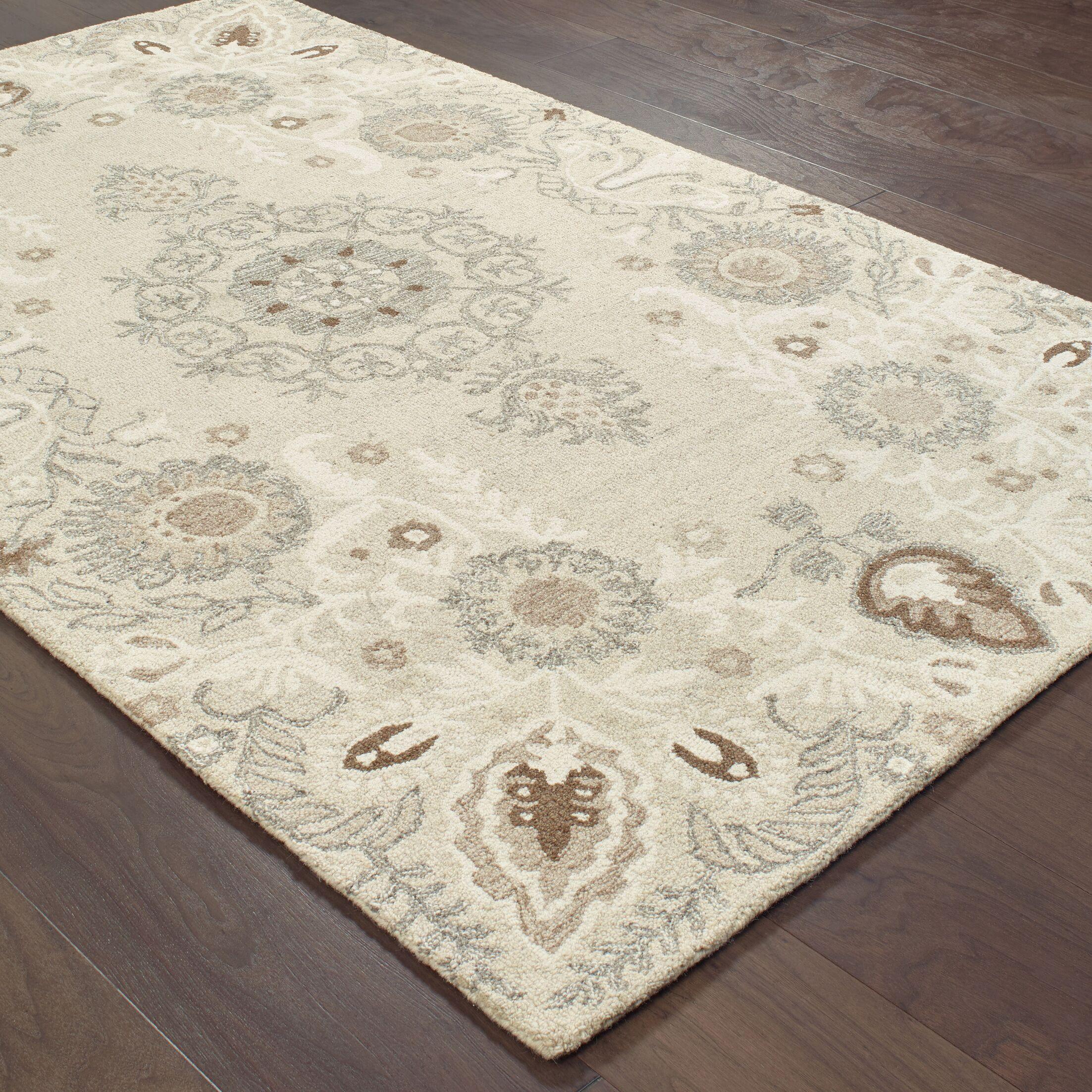 Baddesley Hand-Hooked Wool Sand/Ash Area Rug Rug Size: Rectangle 8' X 10'