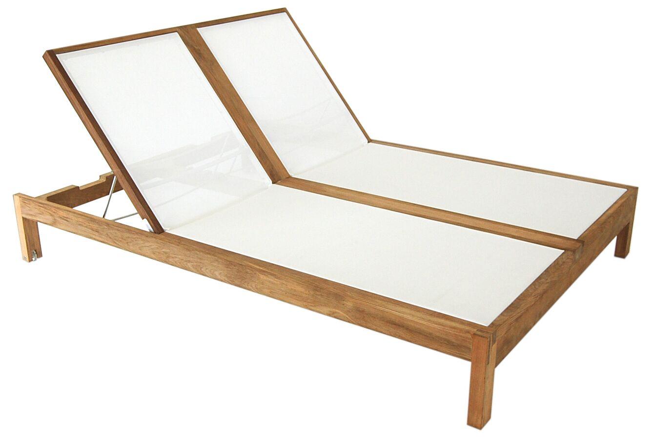 Hamilton Double Reclining Teak Chaise Lounge Fabric: White
