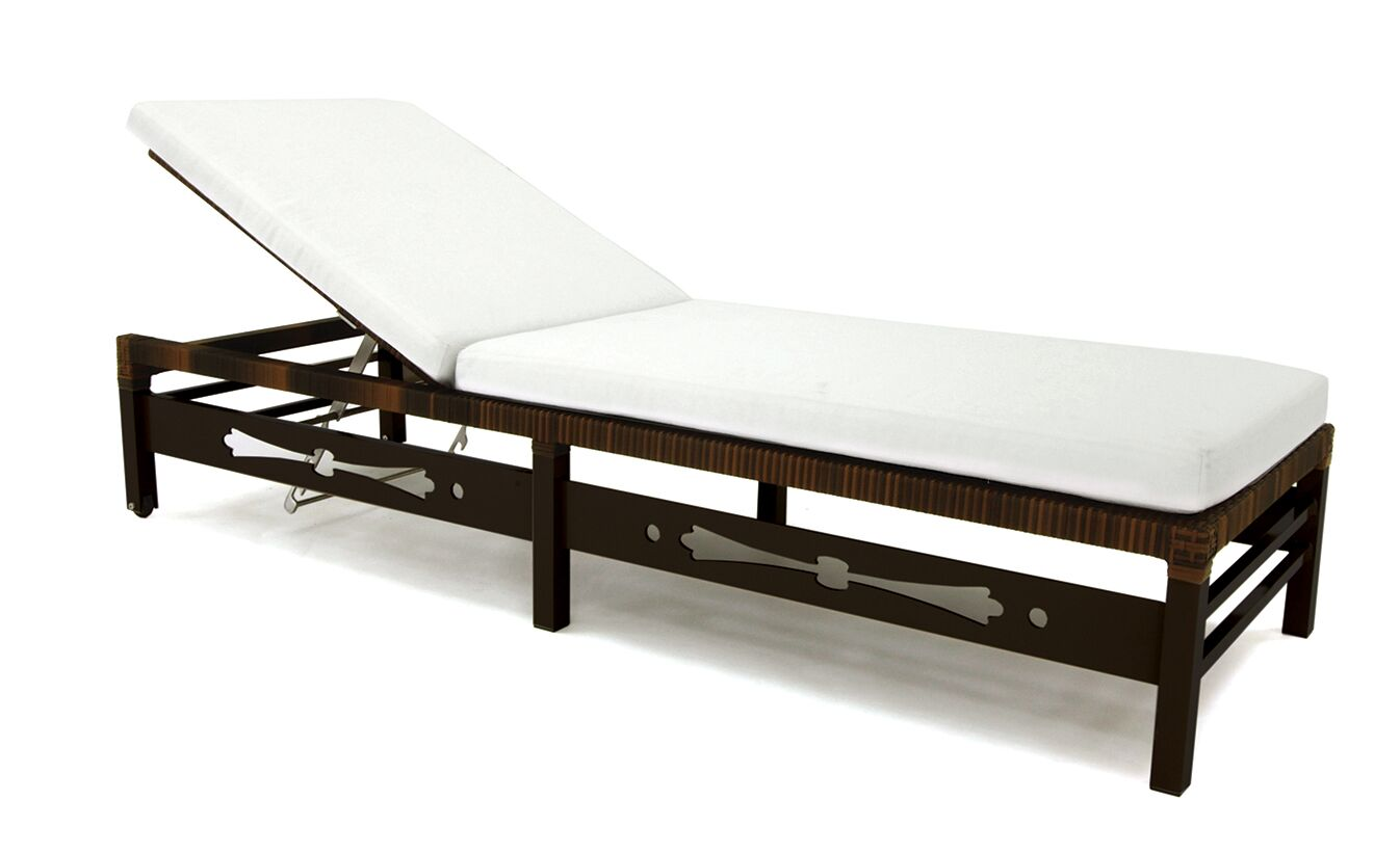 Astor Reclining Chaise Lounge with Cushion Fabric: Canvas Flax