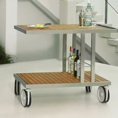 Grace Teak Bar Serving Cart Finish: Stainless Steel