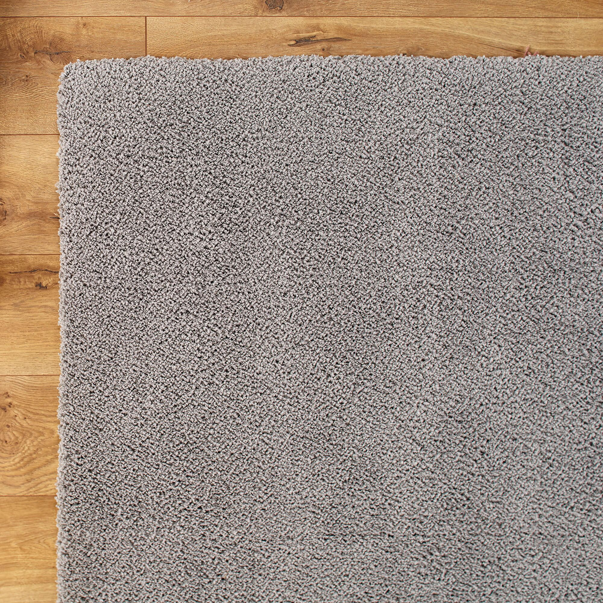 Shaggy Hand-Woven Gray Area Rug Rug Size: Round 6'