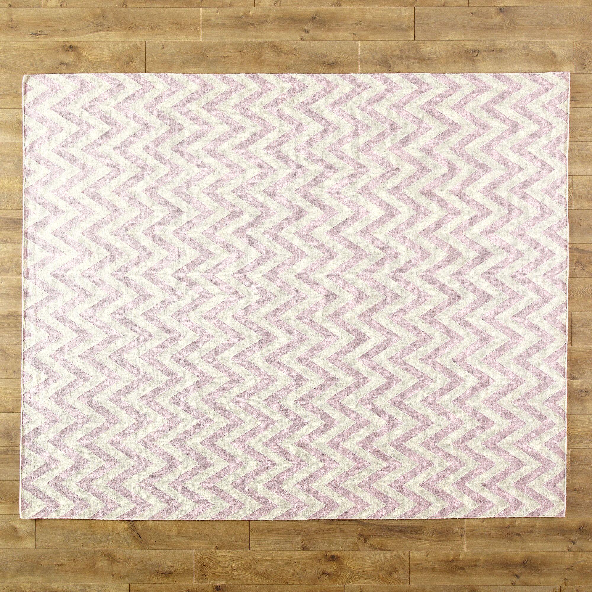 Moves Like Zigzagger Pink Area Rug Rug Size: Rectangle 10' x 14'