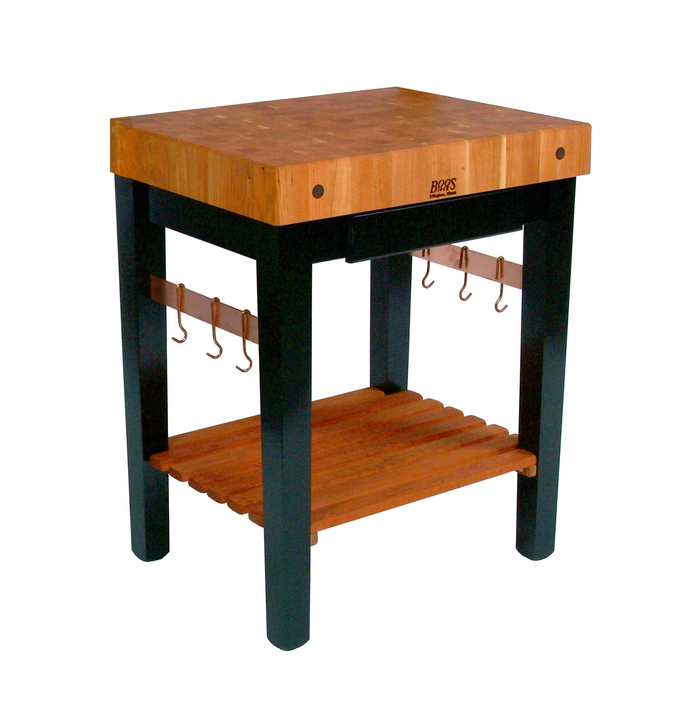 Rouge et Noir Prep Table with Butcher Block Top Size: 30