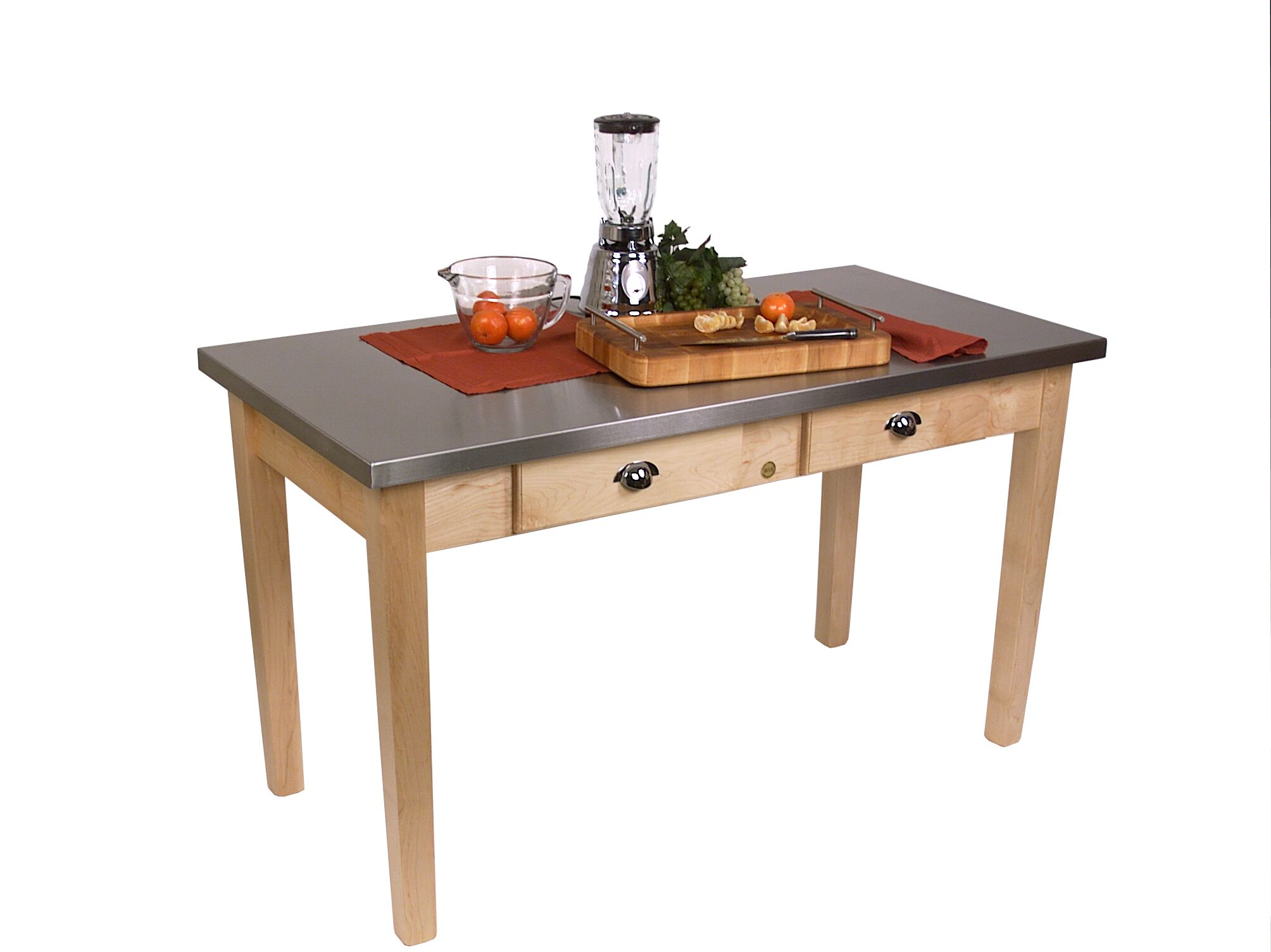 Cucina Americana Prep Table with Stainless Steel Top Size: 48