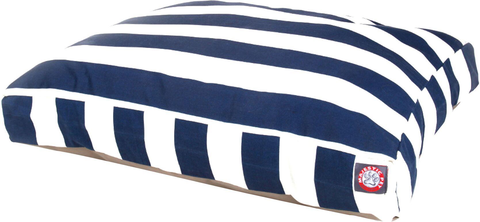 Vertical Stripe Pillow Dog Bed Color: Navy Blue, Size: Large (50