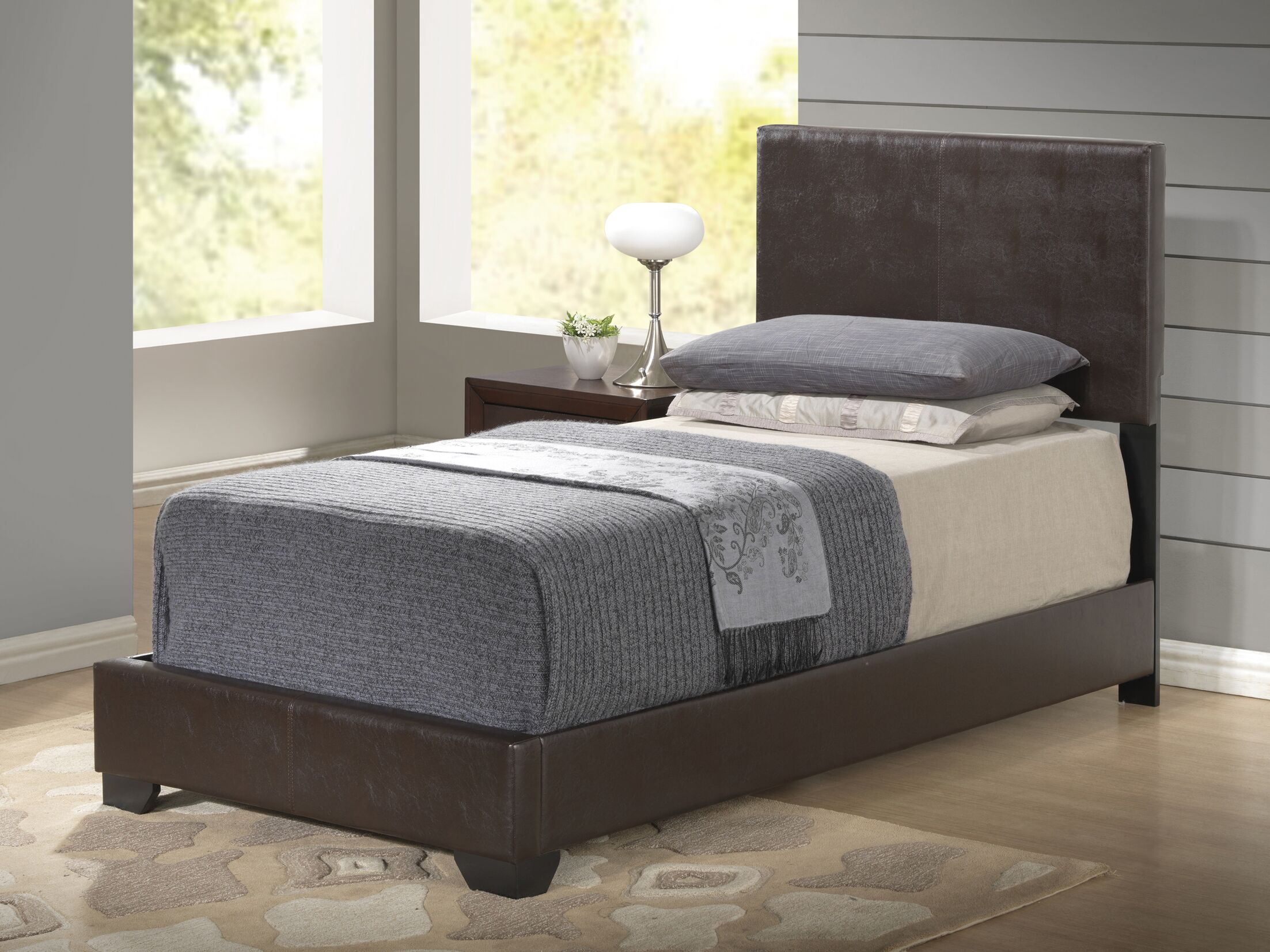 Upholstered Platform Bed Color: Brown, Size: Full