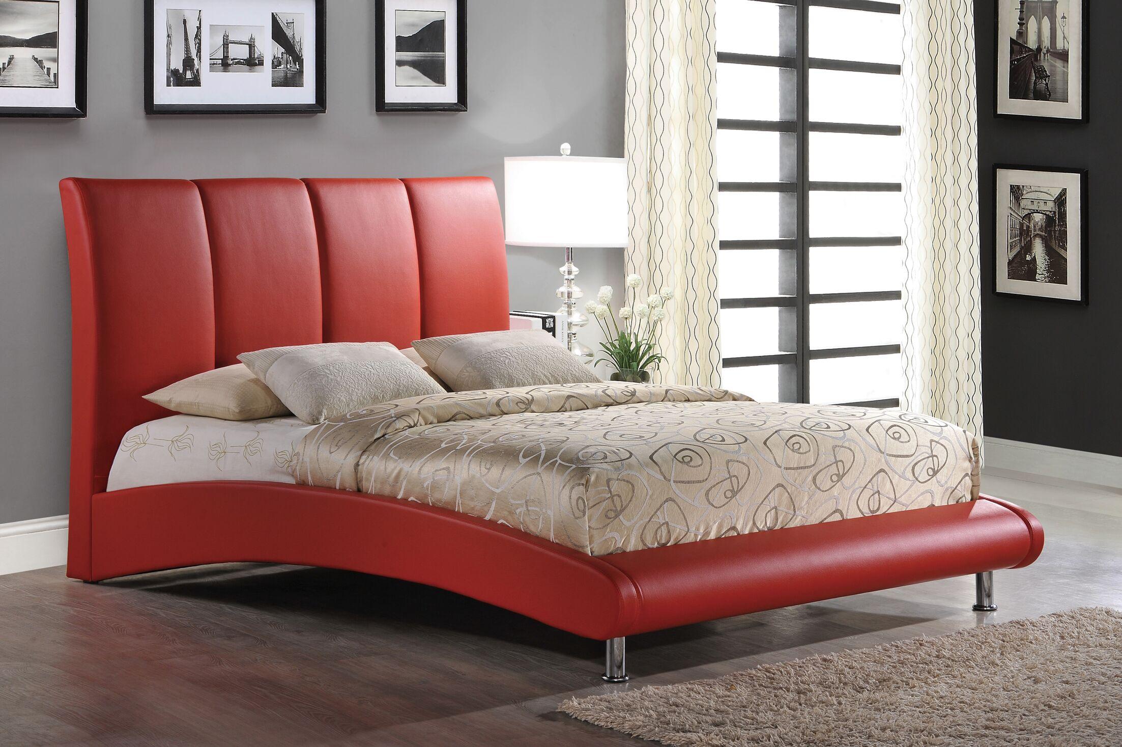 Upholstered Platform Bed Size: Queen, Color: Red