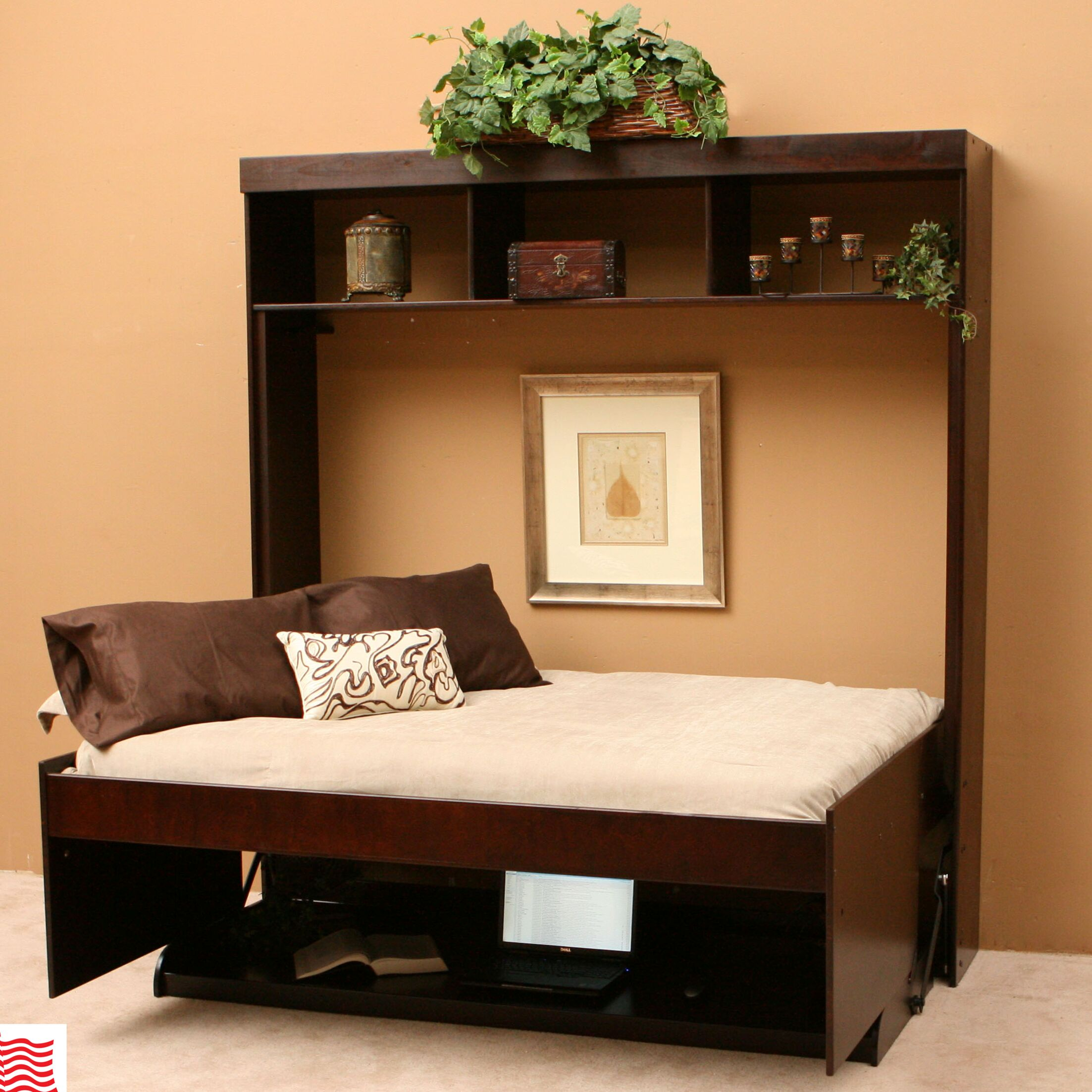 Modern Birch Murphy Bed Color: Chocolate, Size: Full