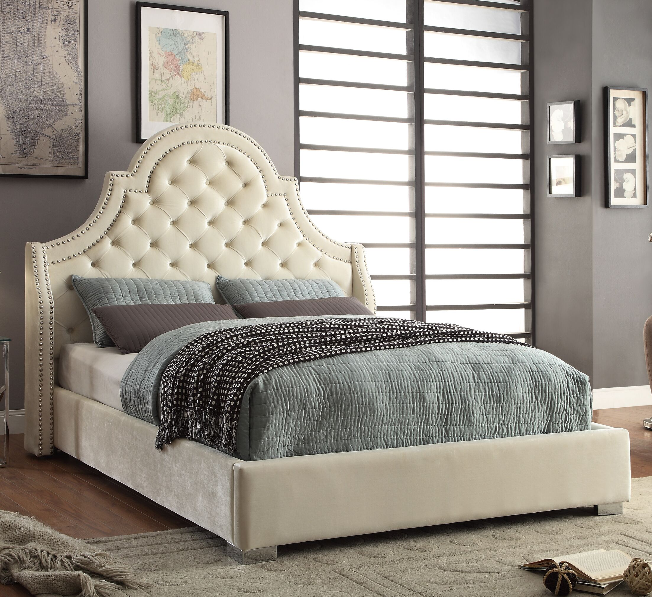 Grove Upholstered Platform Bed Size: Queen, Color: Cream