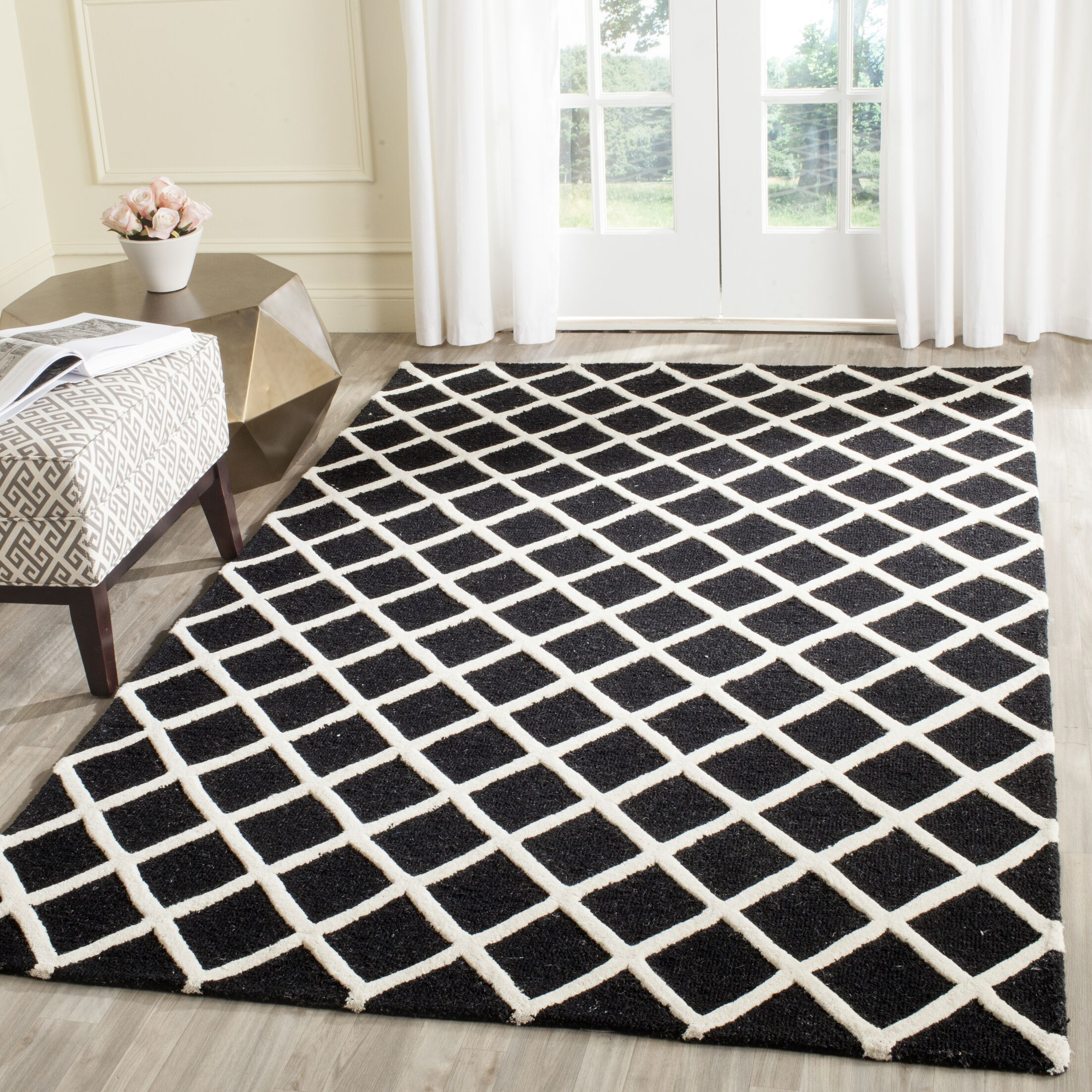 Martins Hand-Tufted Wool Black/White Area Rug Rug Size: Rectangle 3' x 5'