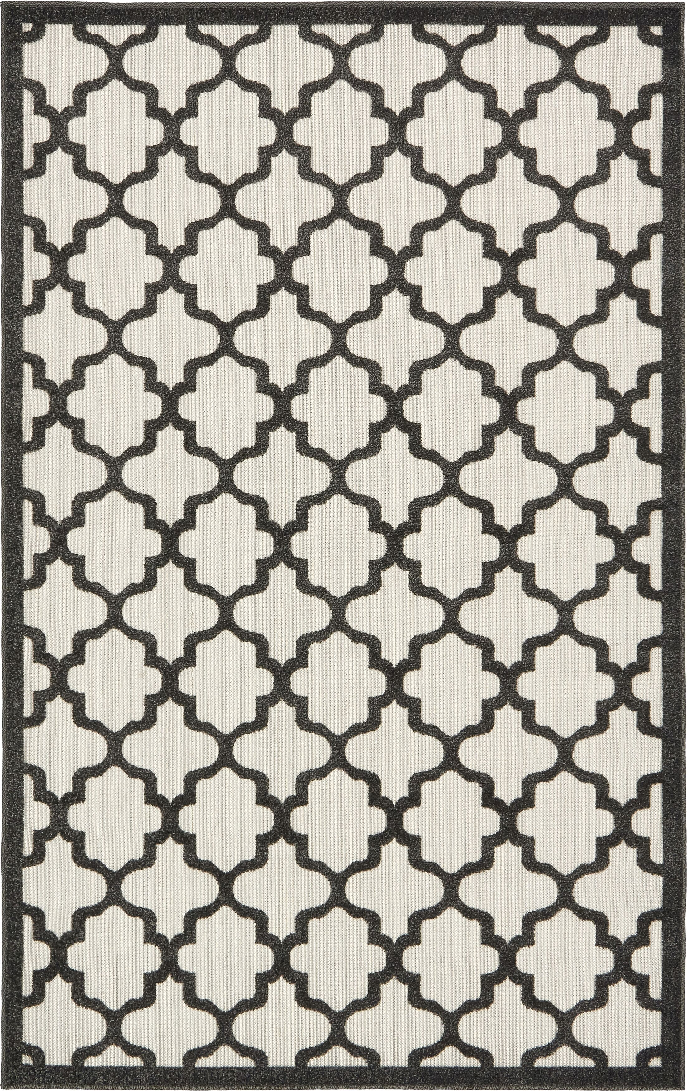 Agapius Black Indoor/Outdoor Area Rug Rug Size: Rectangle 5' x 8'