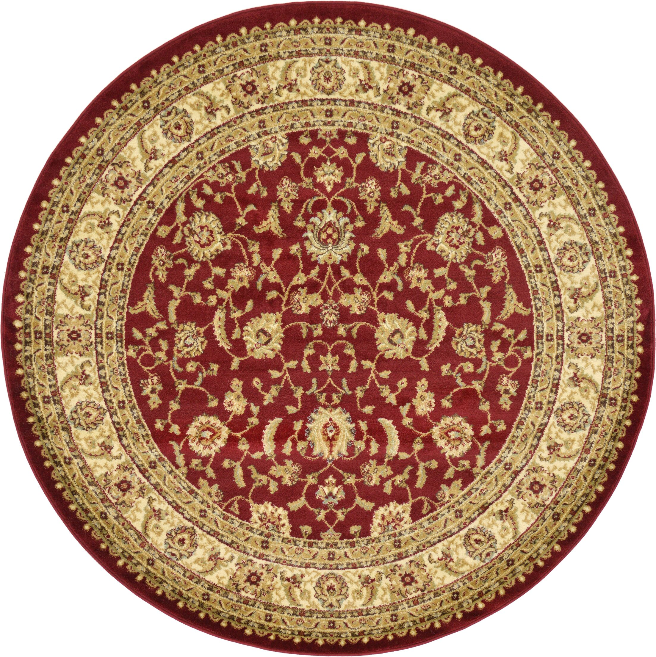 Fairmount Red/Cream Area Rug Rug Size: Round 6'