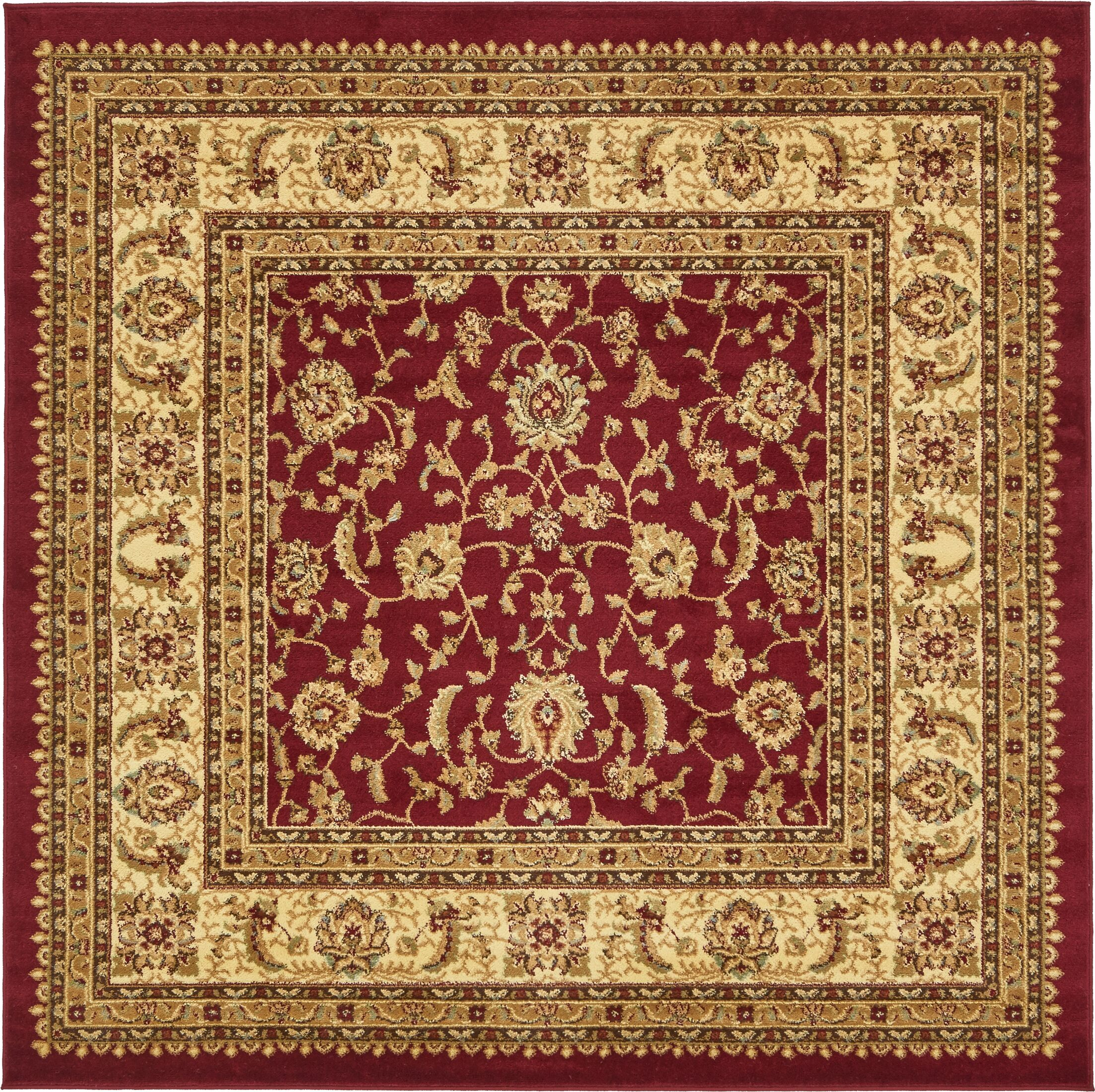 Fairmount Red/Cream Area Rug Rug Size: Square 6'