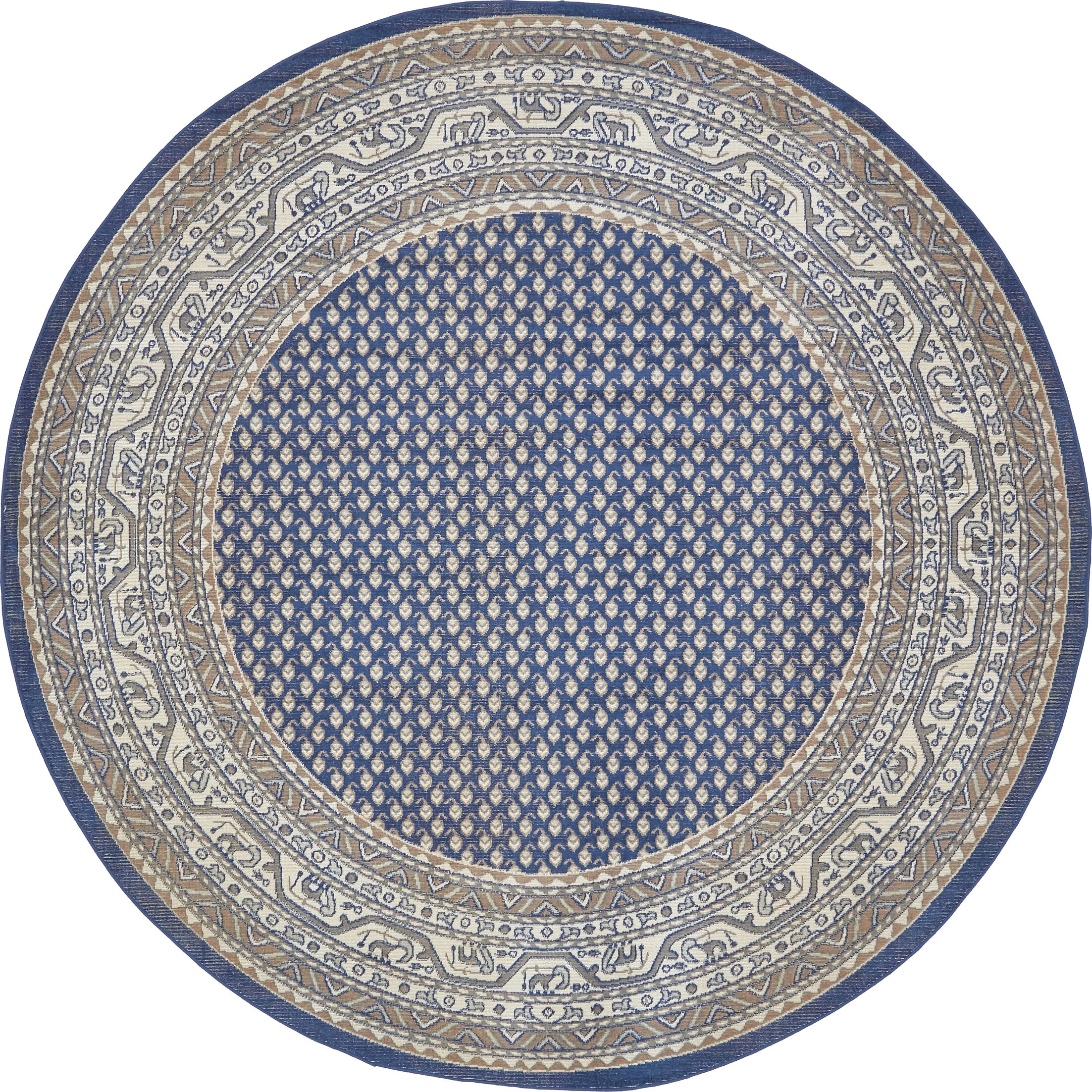Gillam Blue Area Rug Rug Size: Round 8'