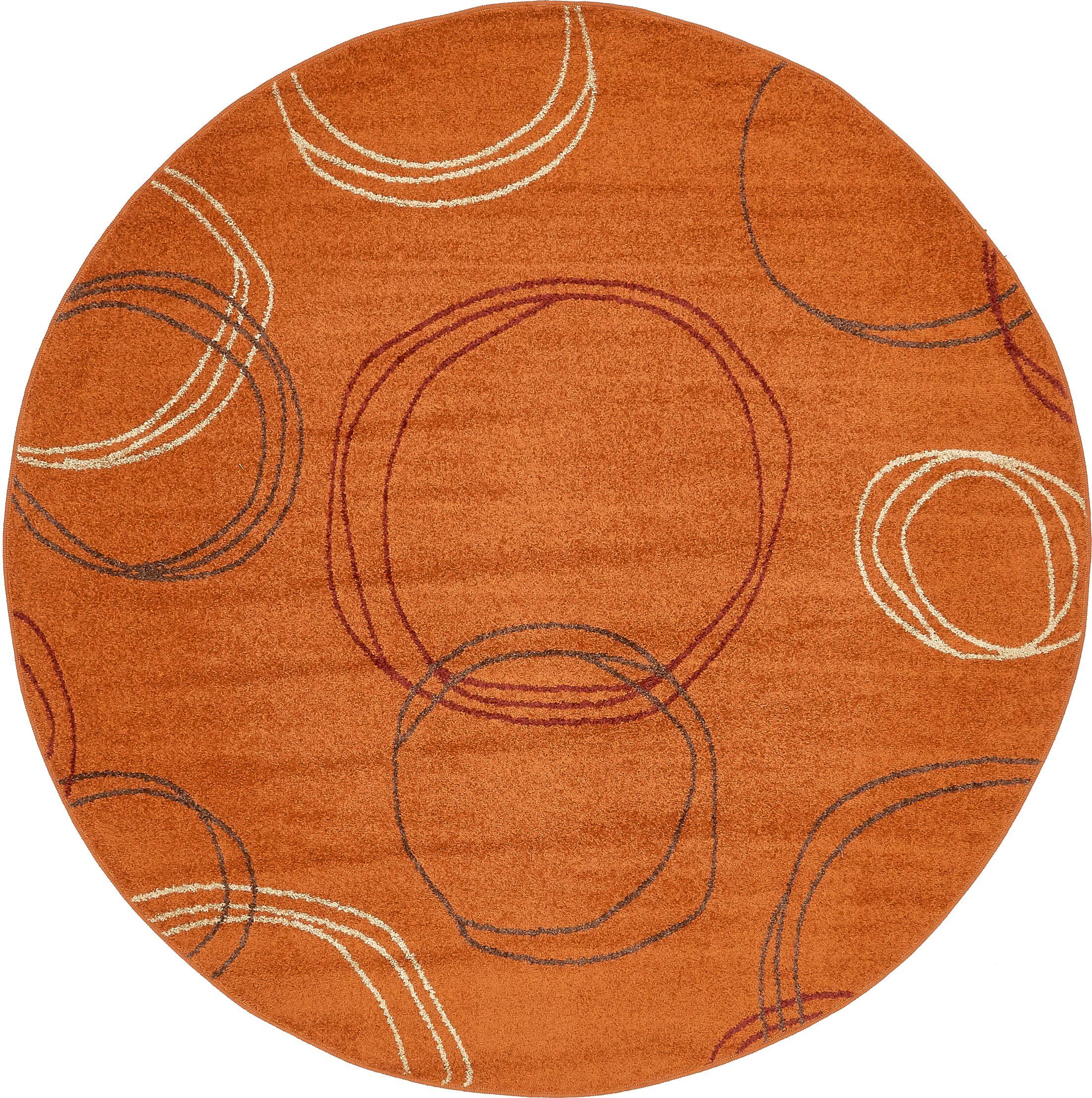 Lilla Terracotta Area Rug Rug Size: Round 8'