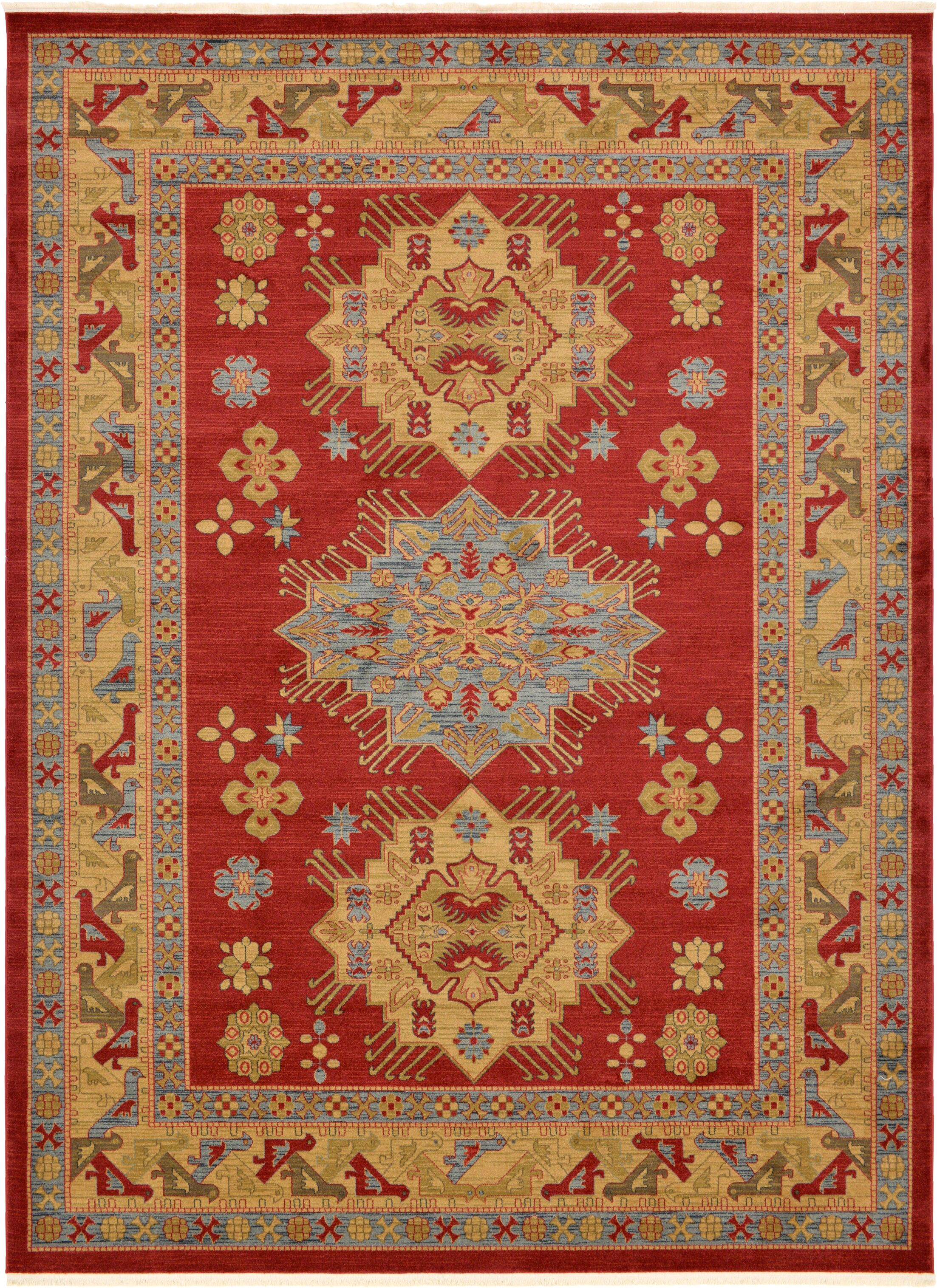 Jana Red Area Rug Rug Size: Rectangle 9'10