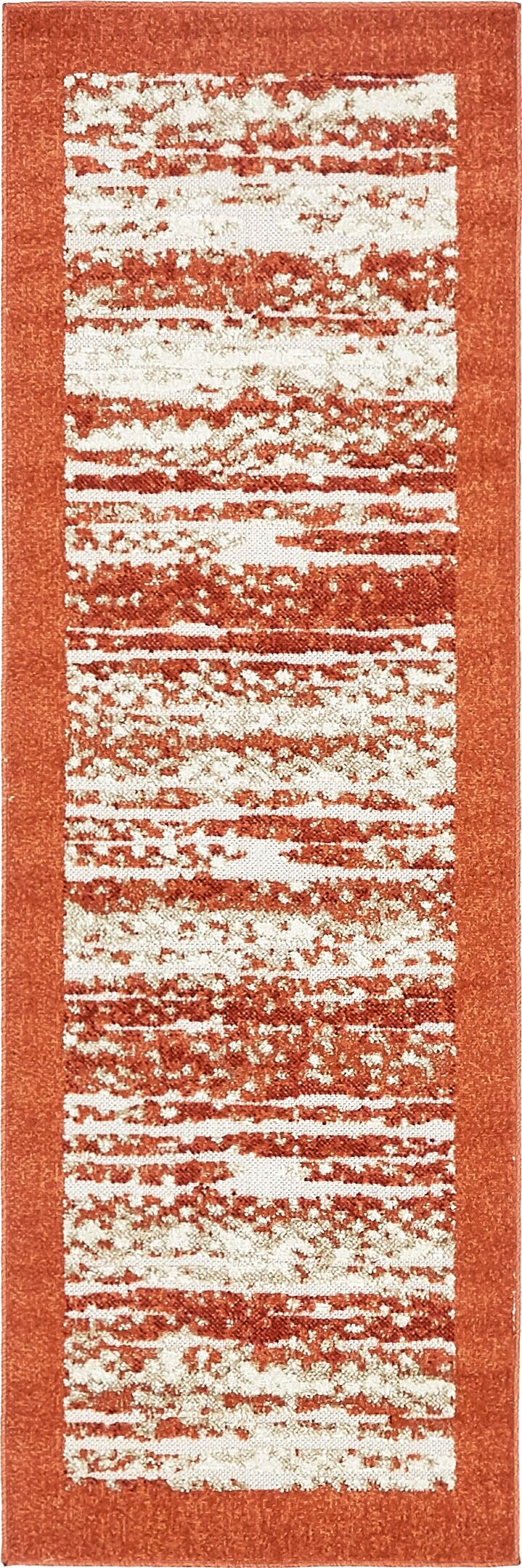 Designed with durability in mind, this versatile area rug is equally suited to sit inside your home or outdoors. Its terracotta-toned border brings a pop of color to any arrangement, while a neutral and orange striated design in the center tones down ...