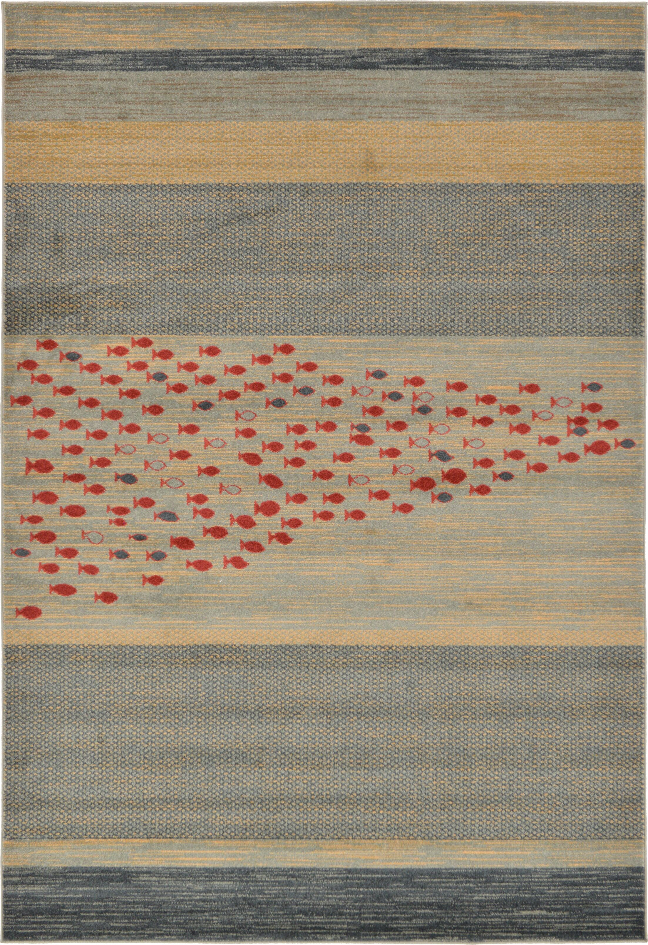Jan Blue/Red/Beige Area Rug Rug Size: Rectangle 6' x 9'