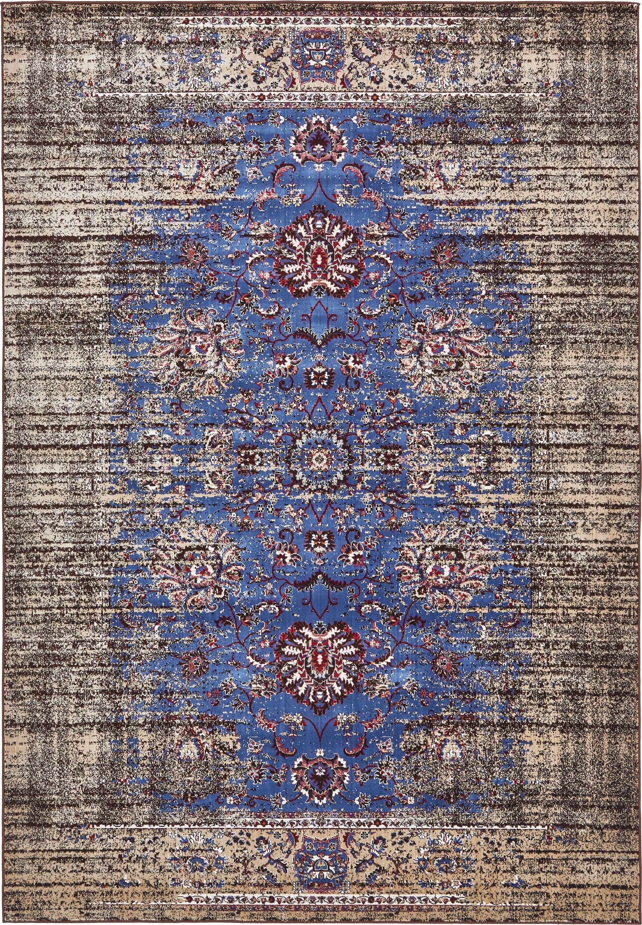 Florence Blue/Ivory Area Rug Rug Size: Rectangle 7' x 10'