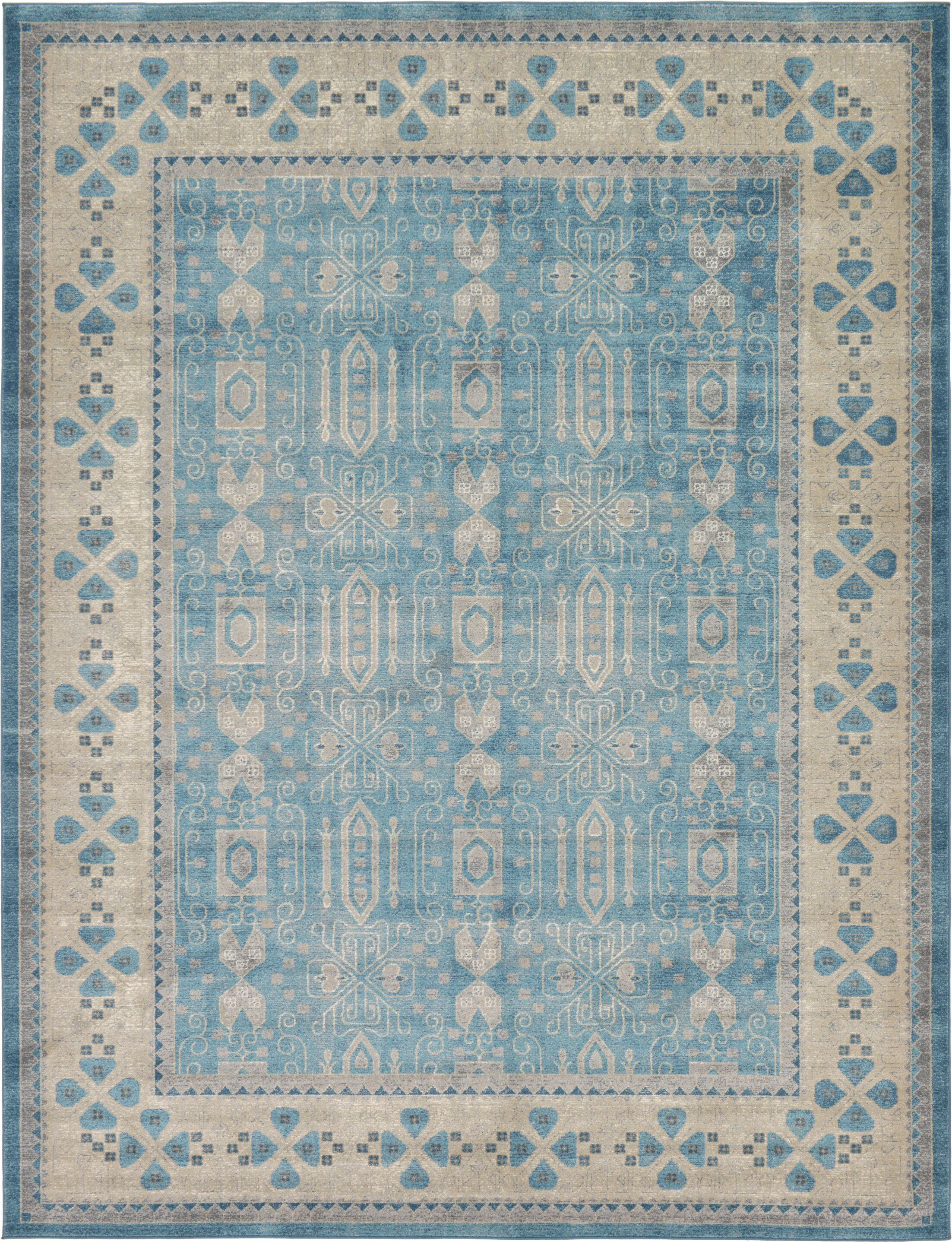 Brierfield Blue/Brown Area Rug Rug Size: Rectangle 9' x 12'