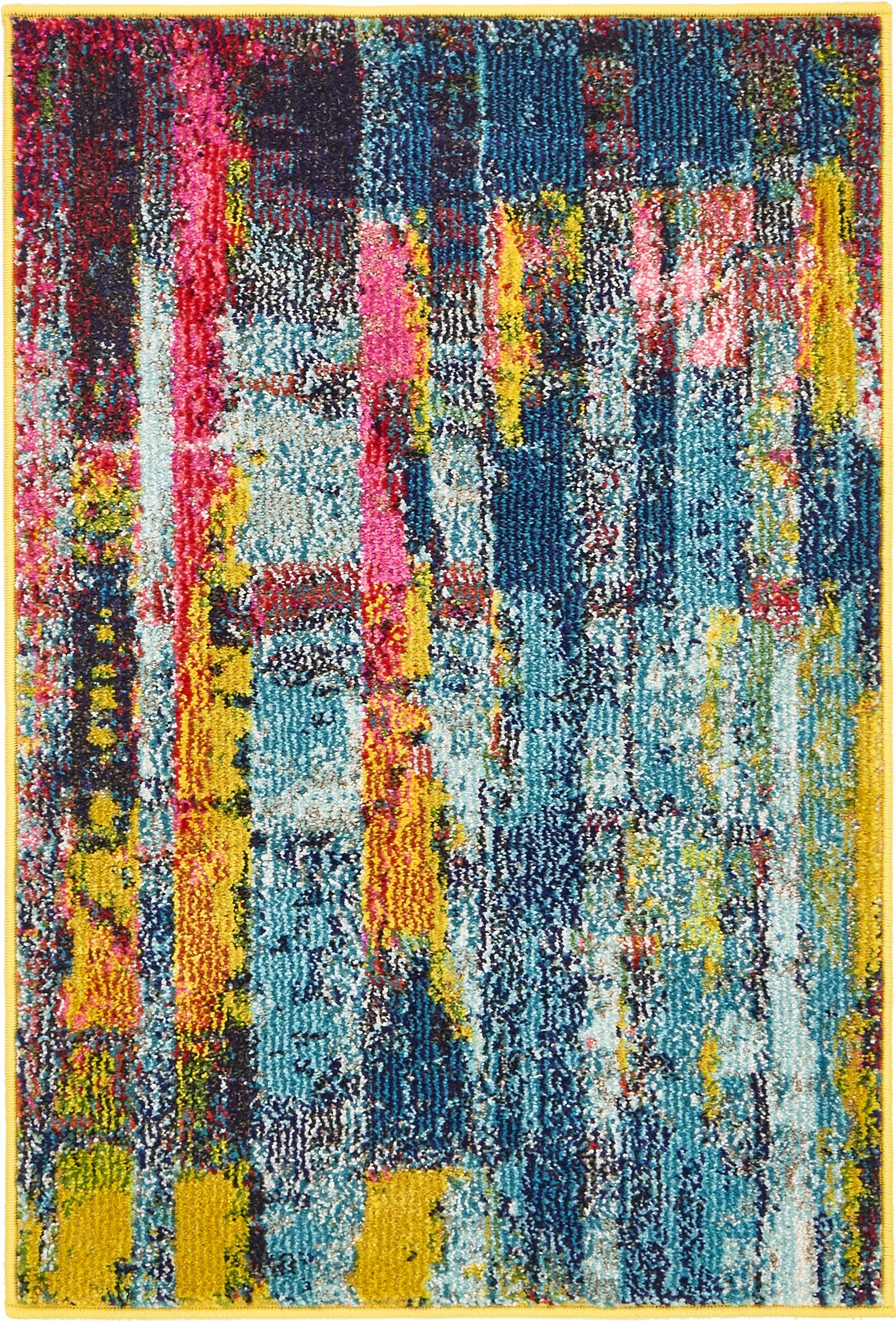 Sofia Blue/Yellow Area Rug Rug Size: Rectangle 9' x 12'