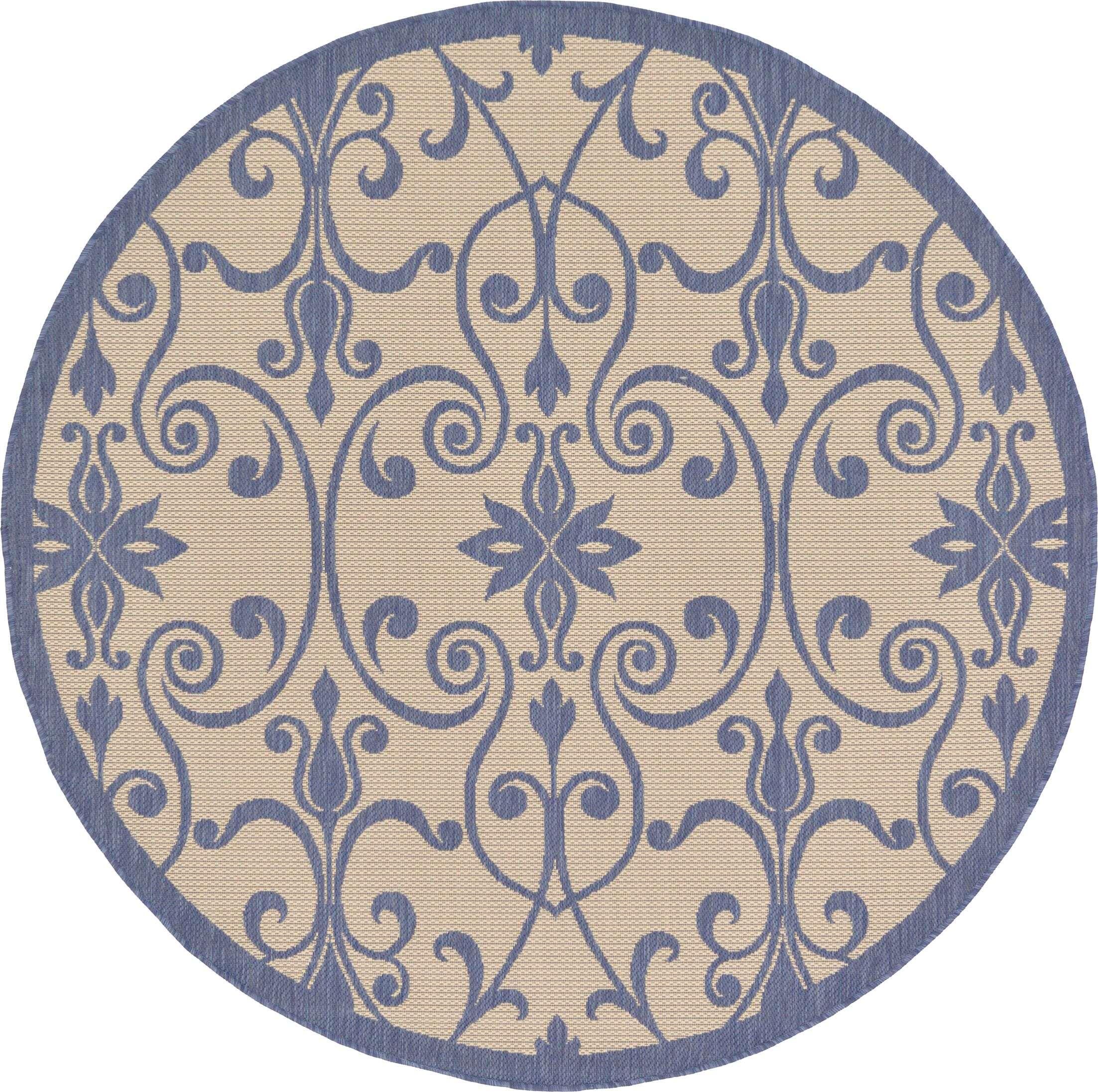 Hoyne Blue Outdoor Area Rug Rug Size: Round 6'