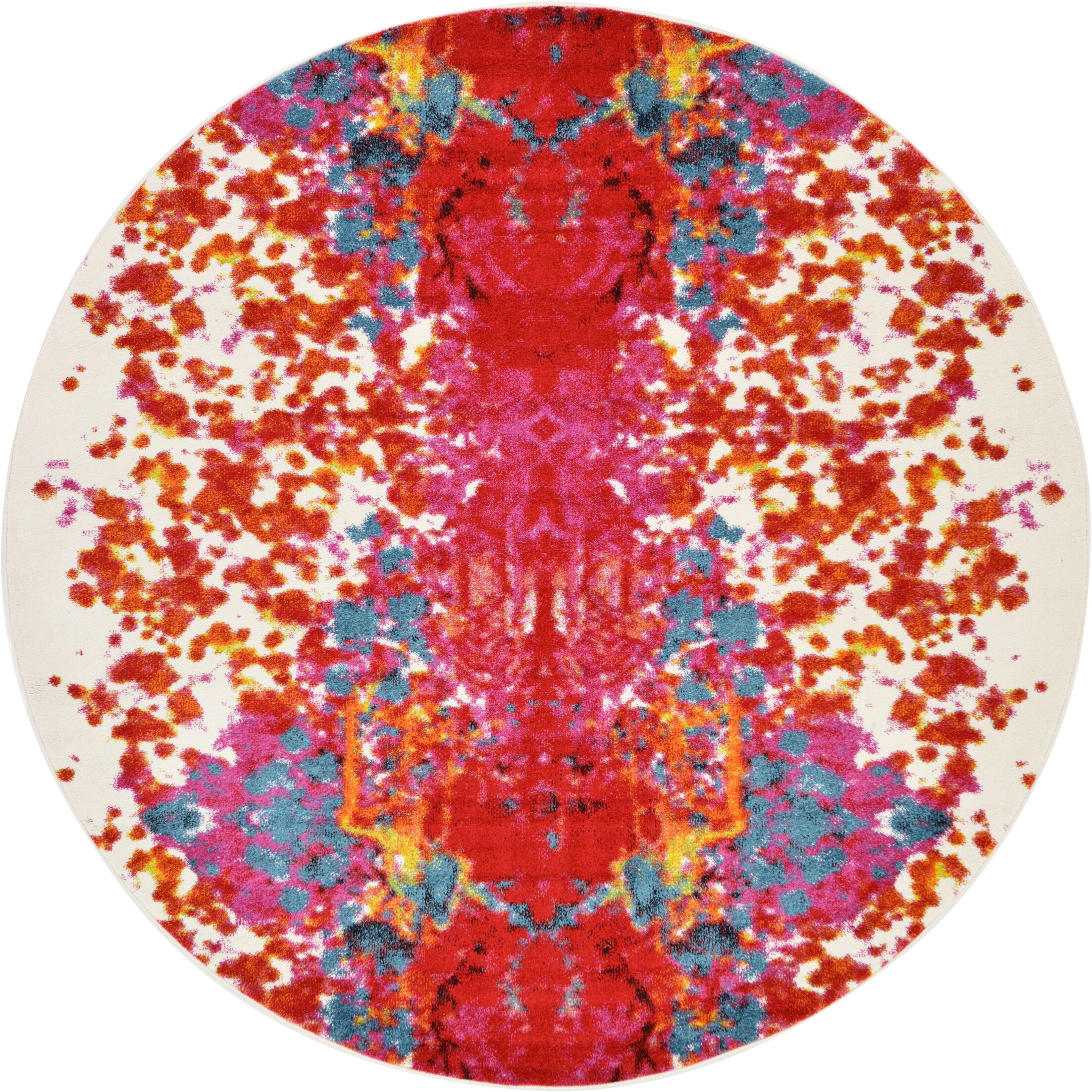Shuman Red Area Rug Rug Size: Round 8'