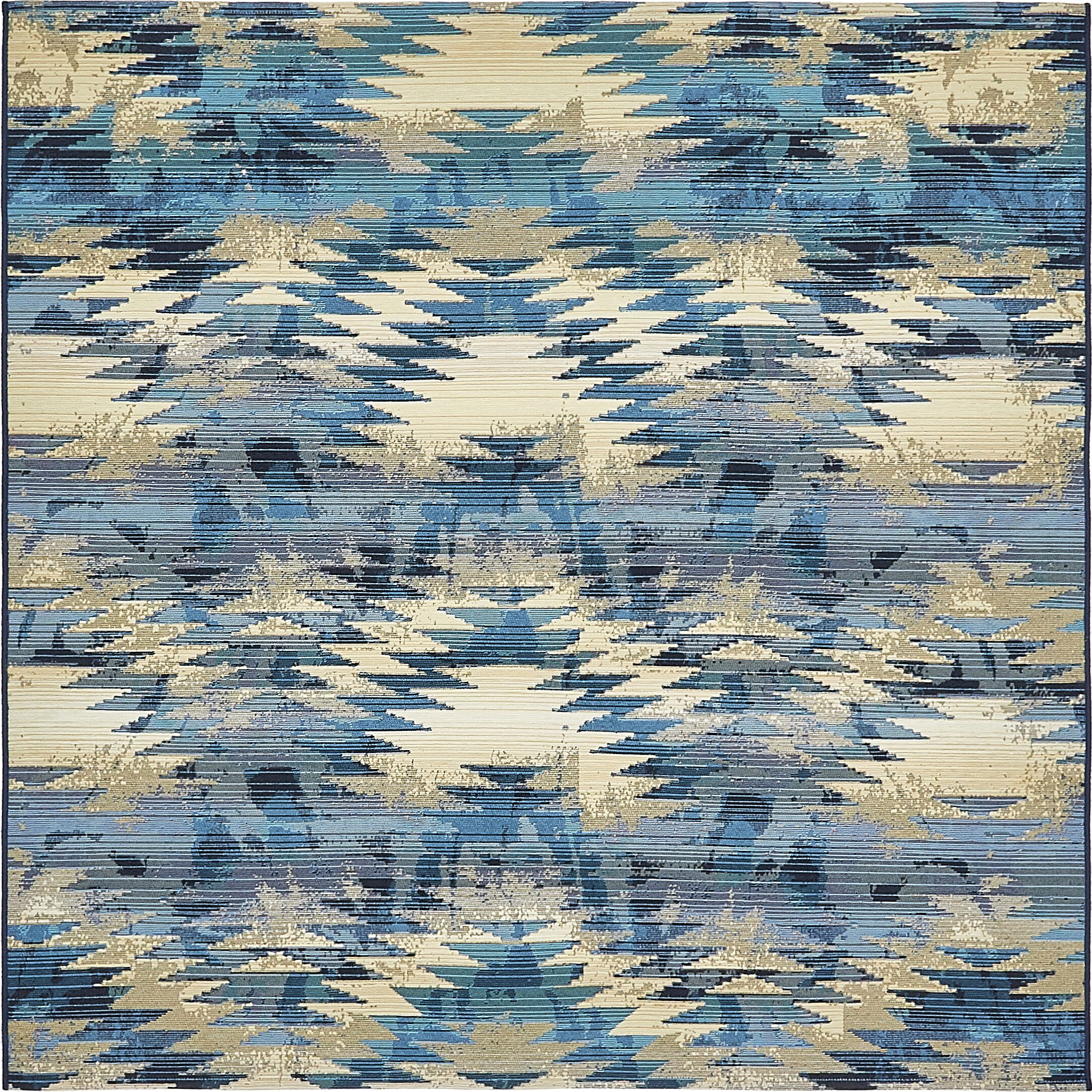 Avila Blue Abstract Indoor/Outdoor Area Rug Rug Size: Square 6'