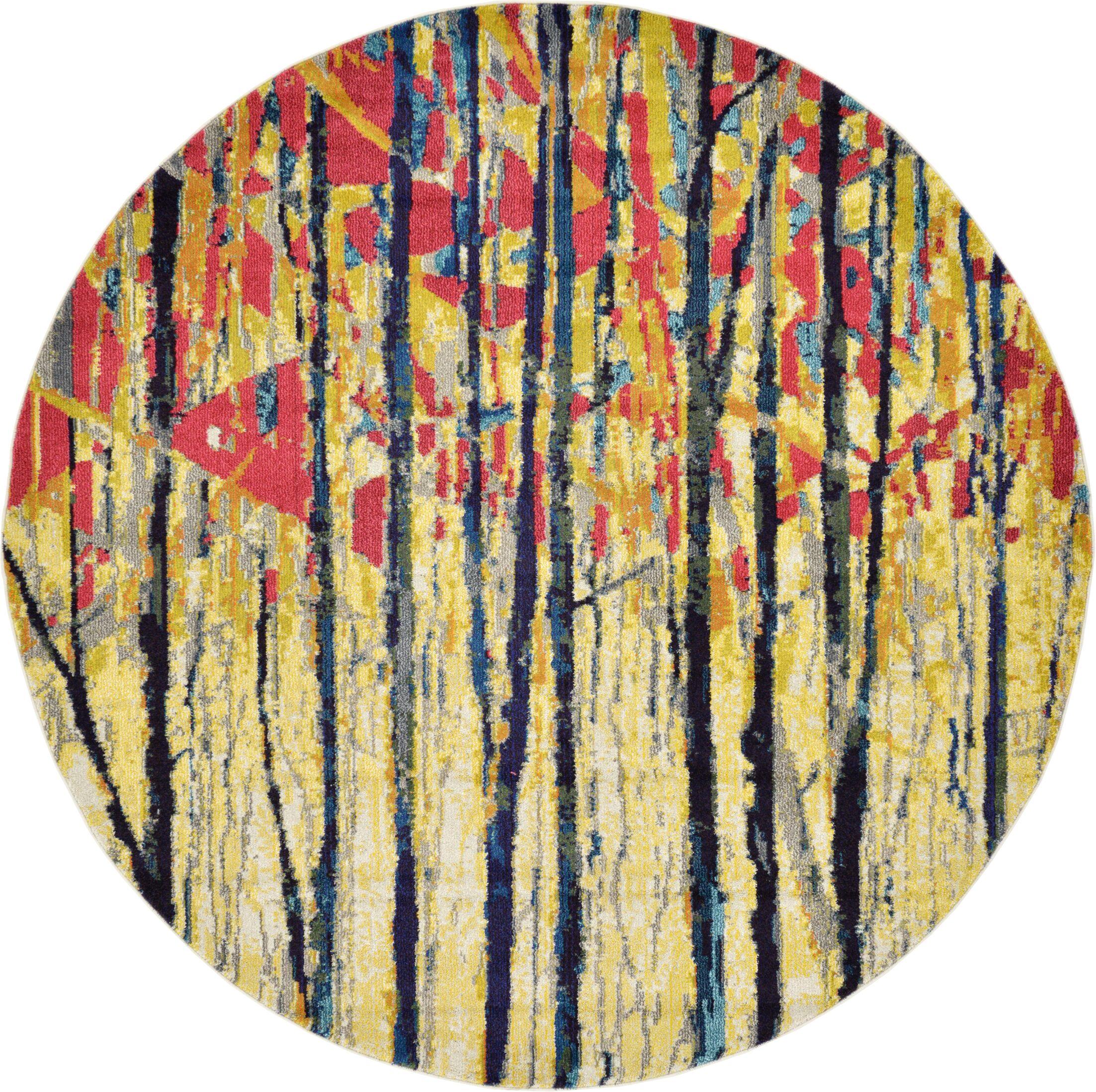 Liz Yellow Area Rug Rug Size: Round 8'