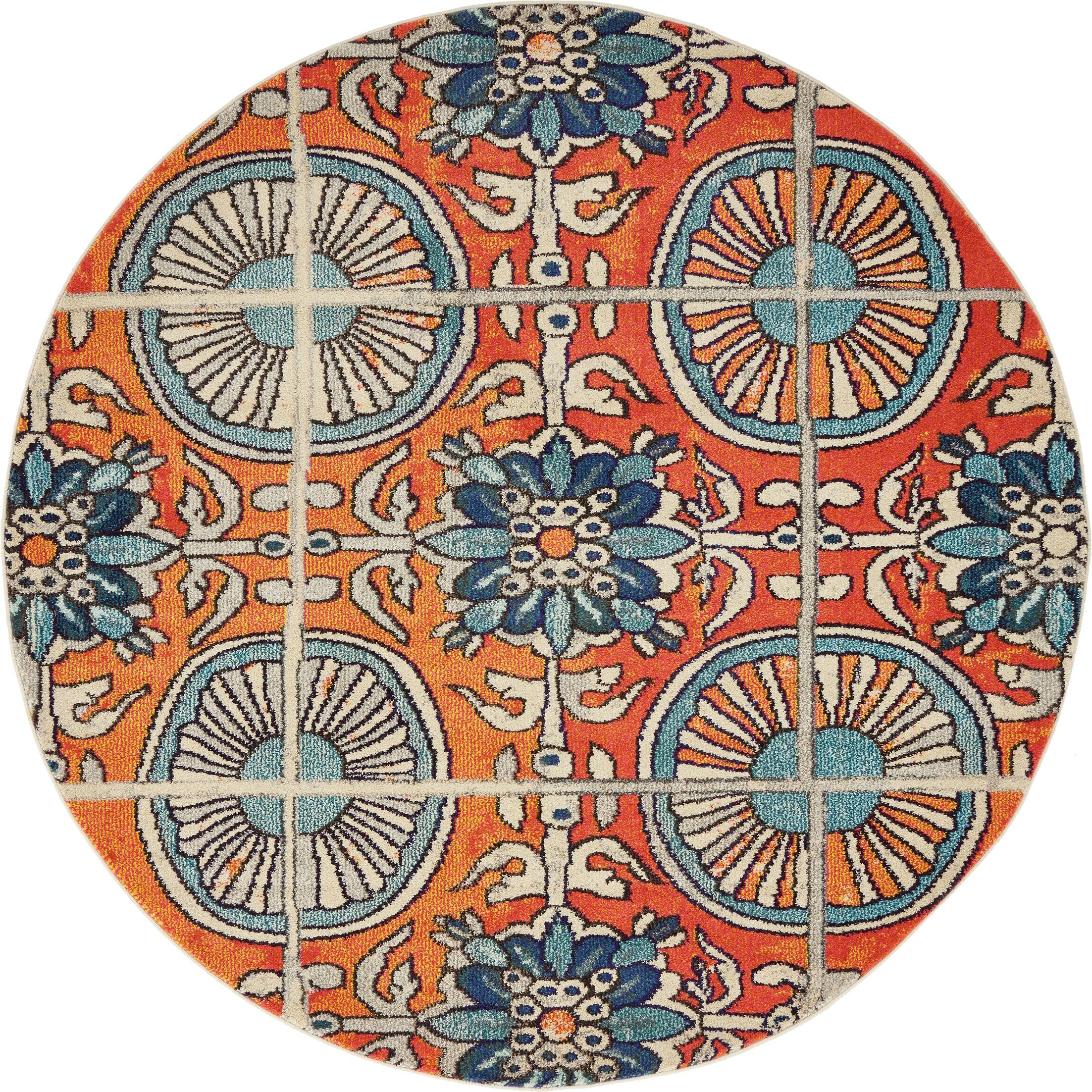 Fujii Orange Area Rug Rug Size: Round 6'