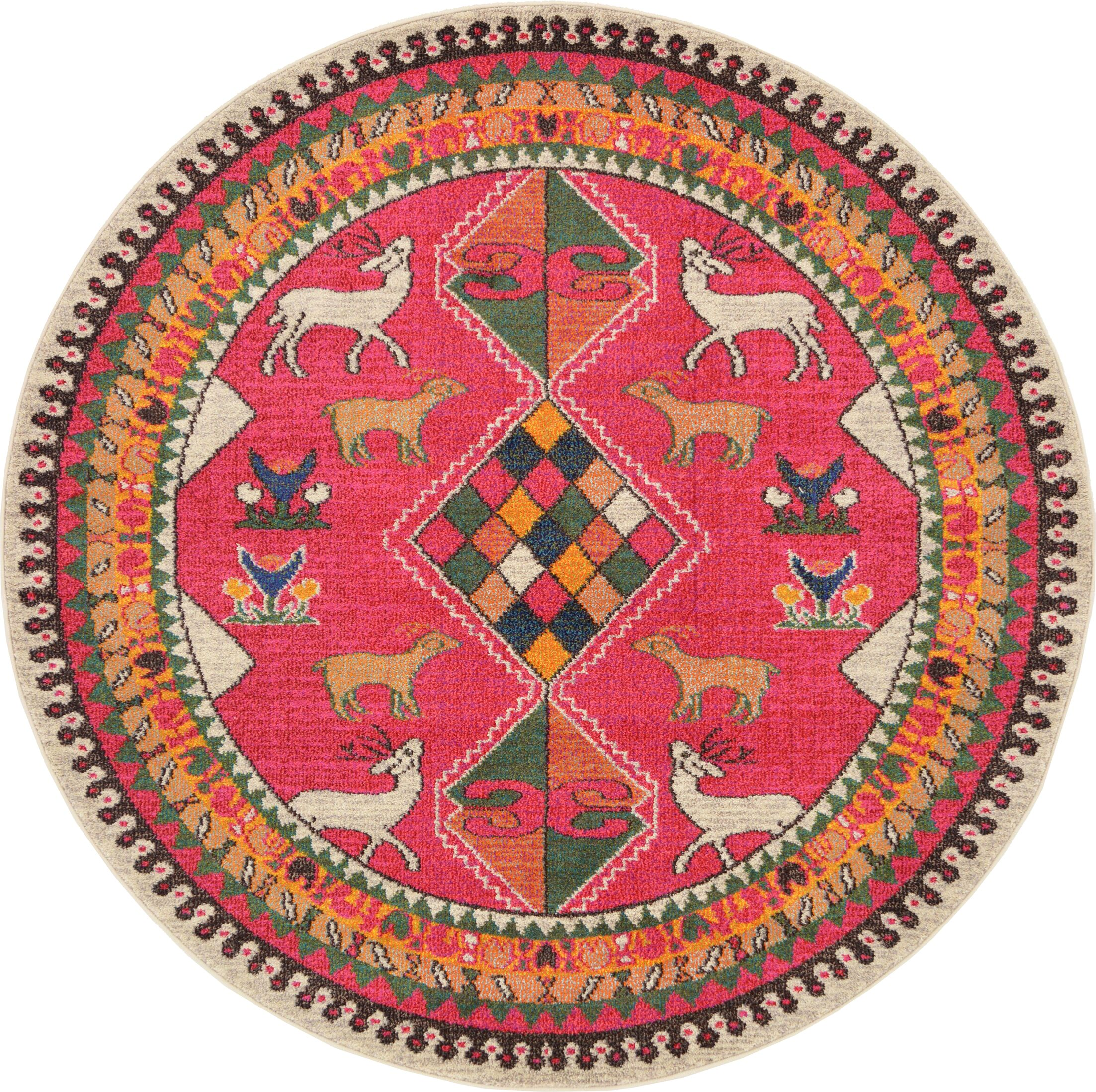 Phillips Pink Area Rug Rug Size: Round 6'