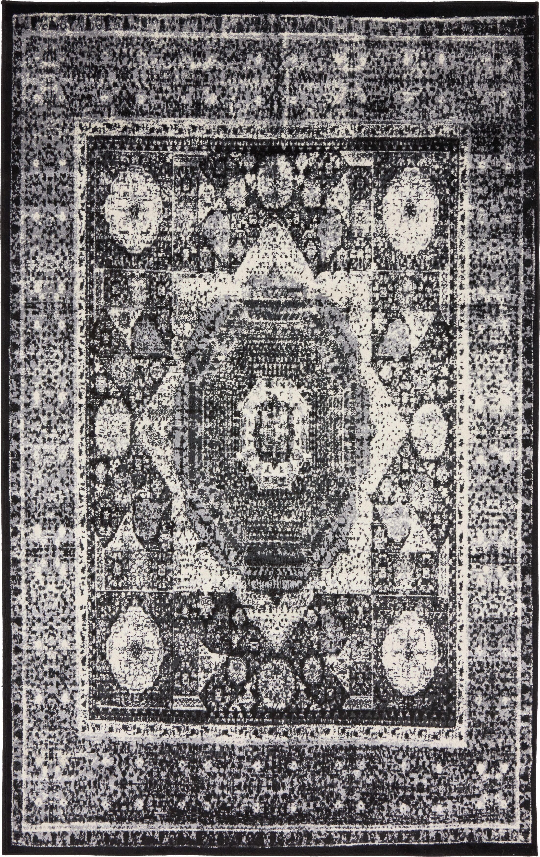 Bolton Gray/Black Area Rug Rug Size: Rectangle 5' x 8'