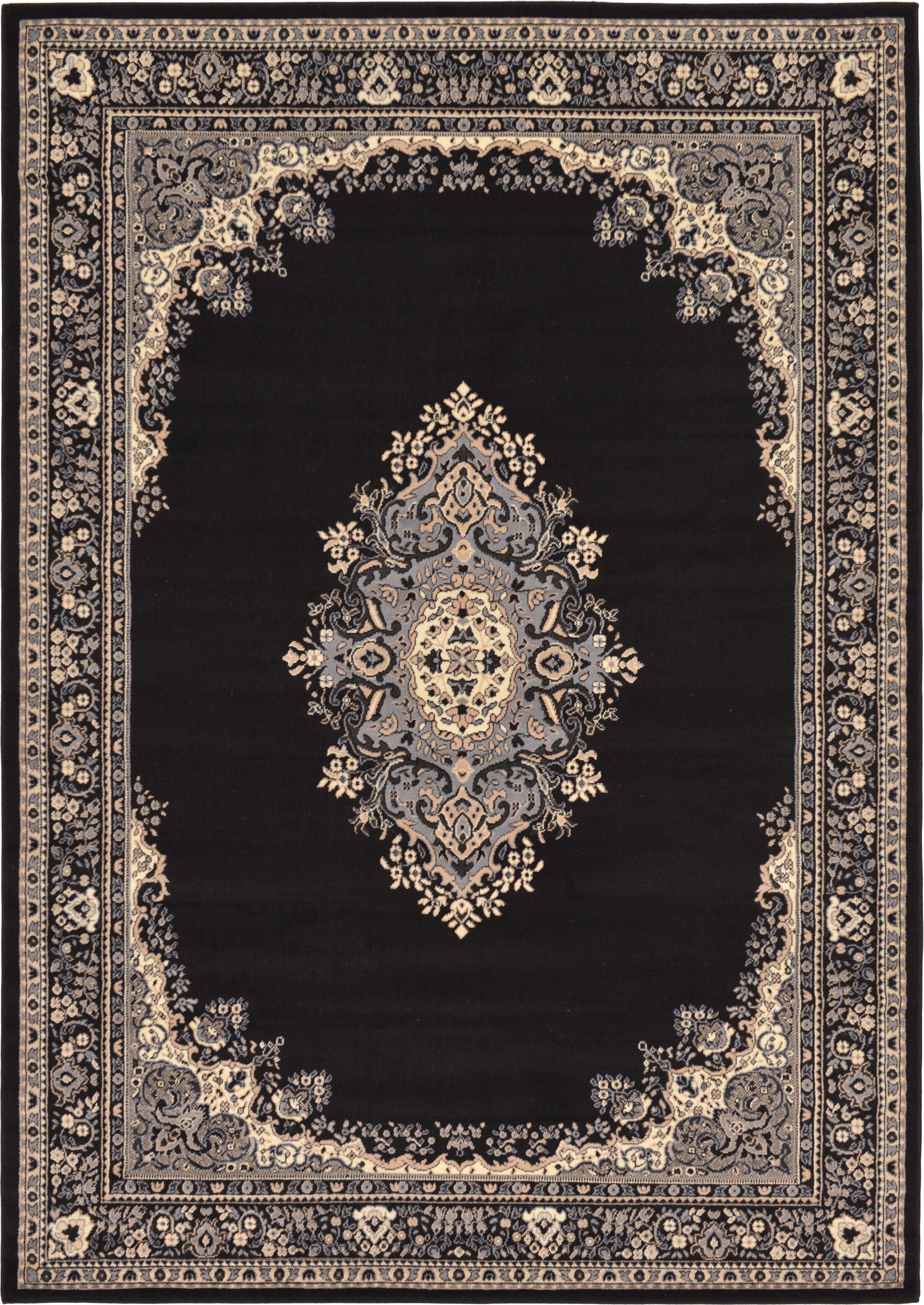 Britain Black Area Rug Rug Size: Rectangle 7' x 10'