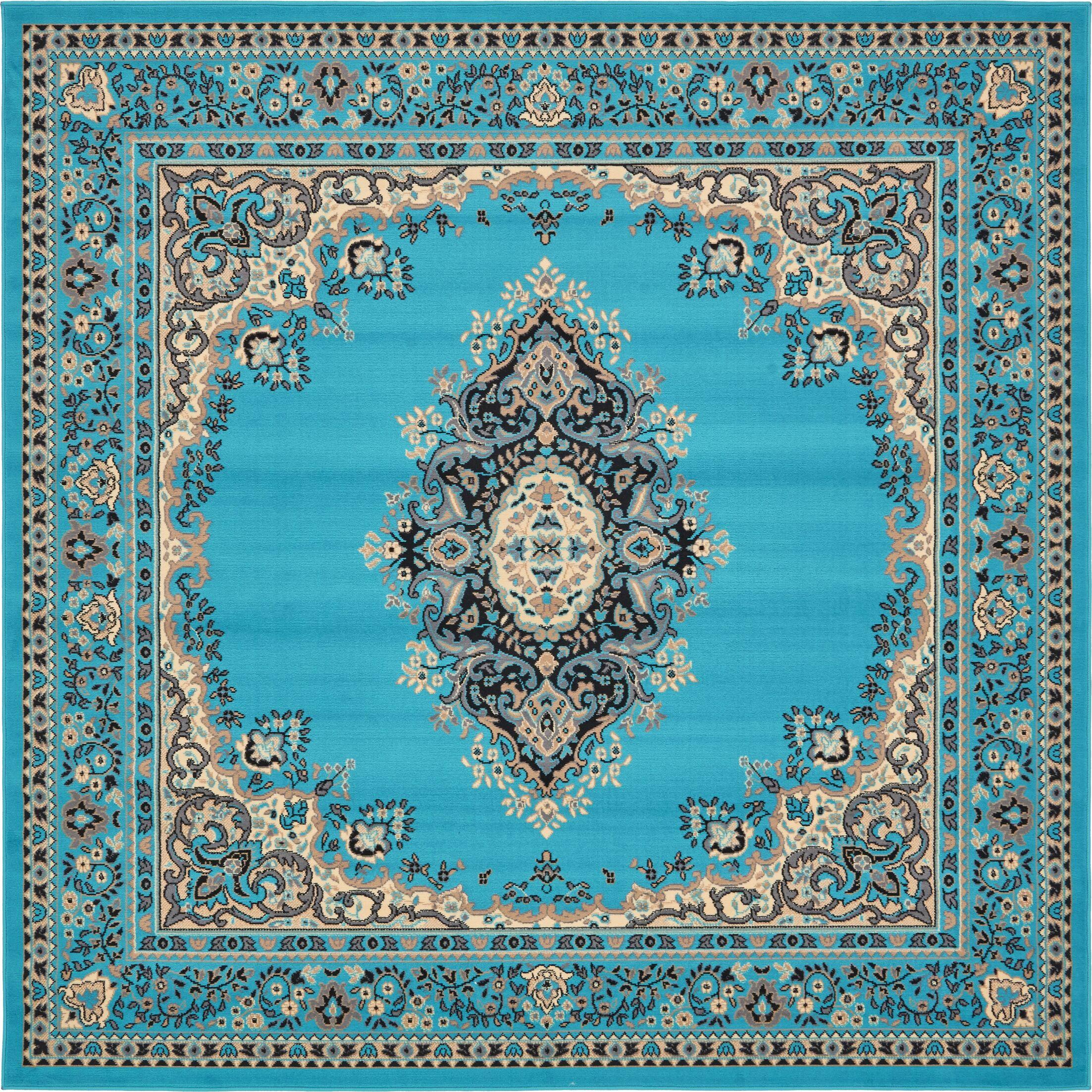 Britain Turquoise Area Rug Rug Size: Square 8'