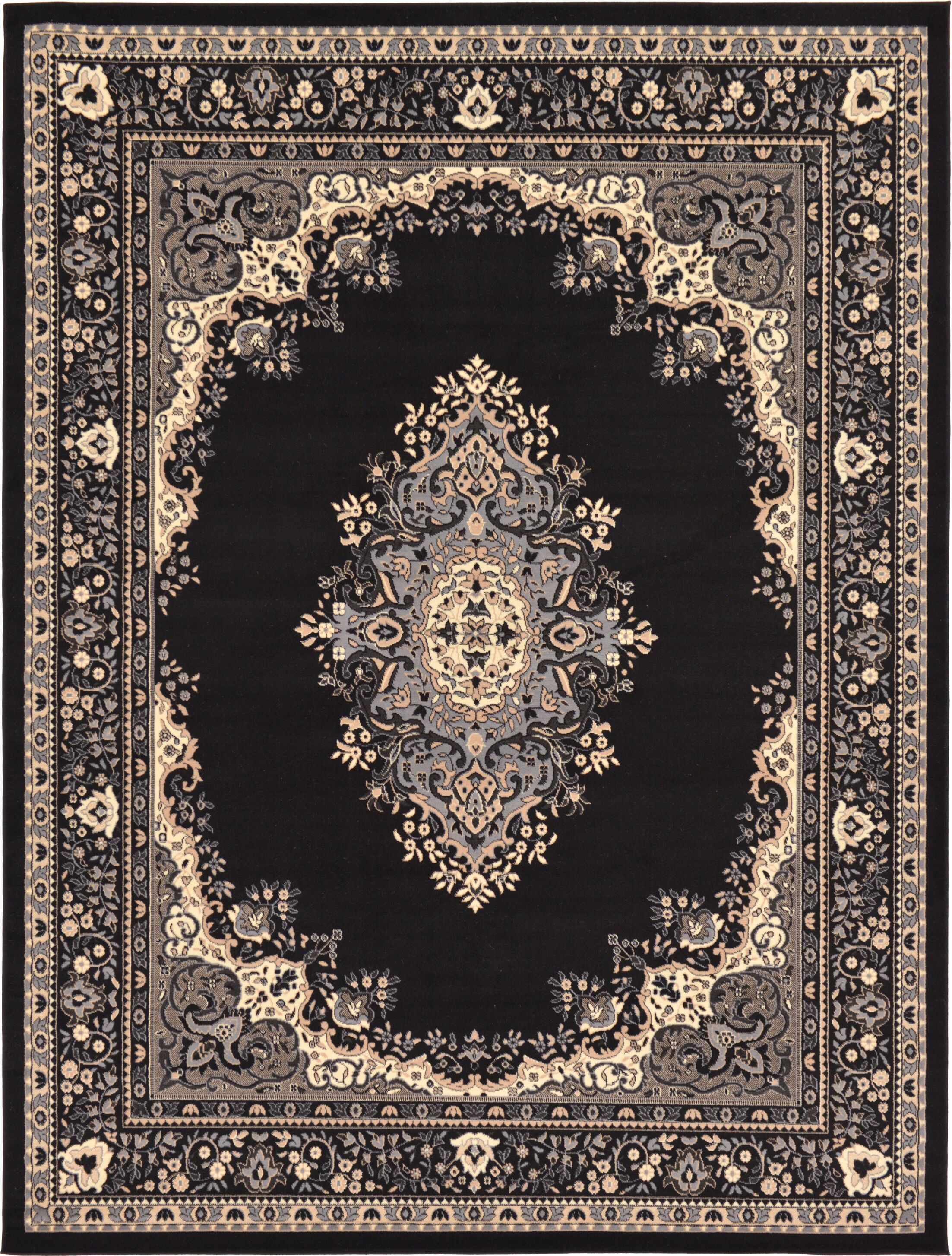 Britain Black Area Rug Rug Size: Rectangle 9' x 12'