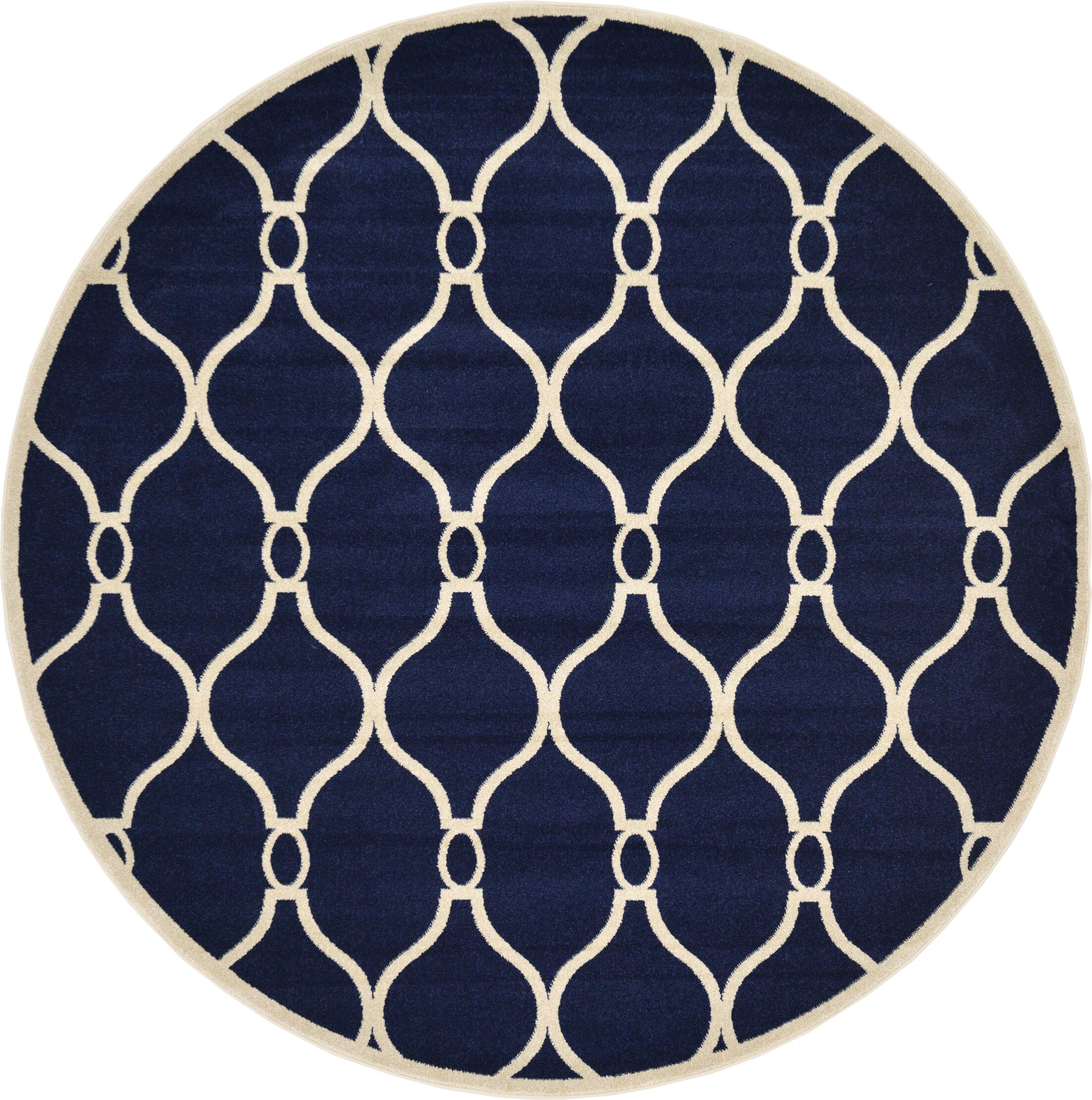 Molly Navy Blue Area Rug Rug Size: Round 8'