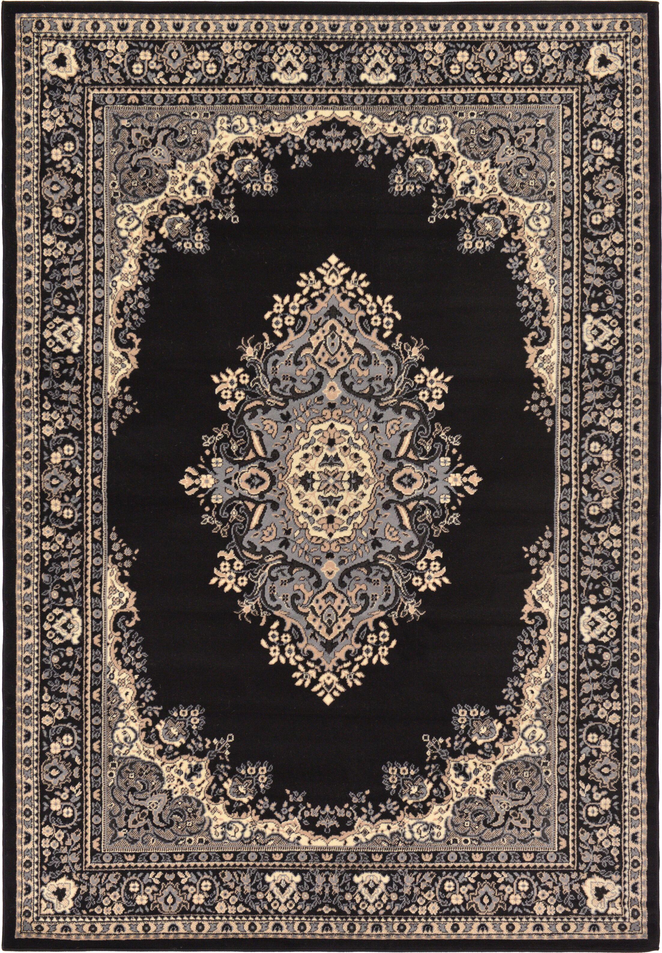 Britain Black Area Rug Rug Size: Rectangle 6' x 9'
