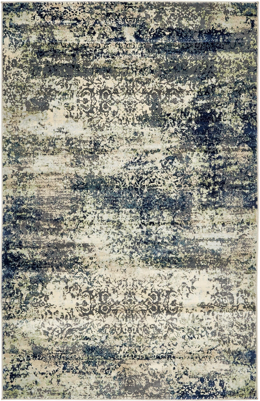 Jani Beige/Navy Blue Area Rug Rug Size: Rectangle 5' x 8'