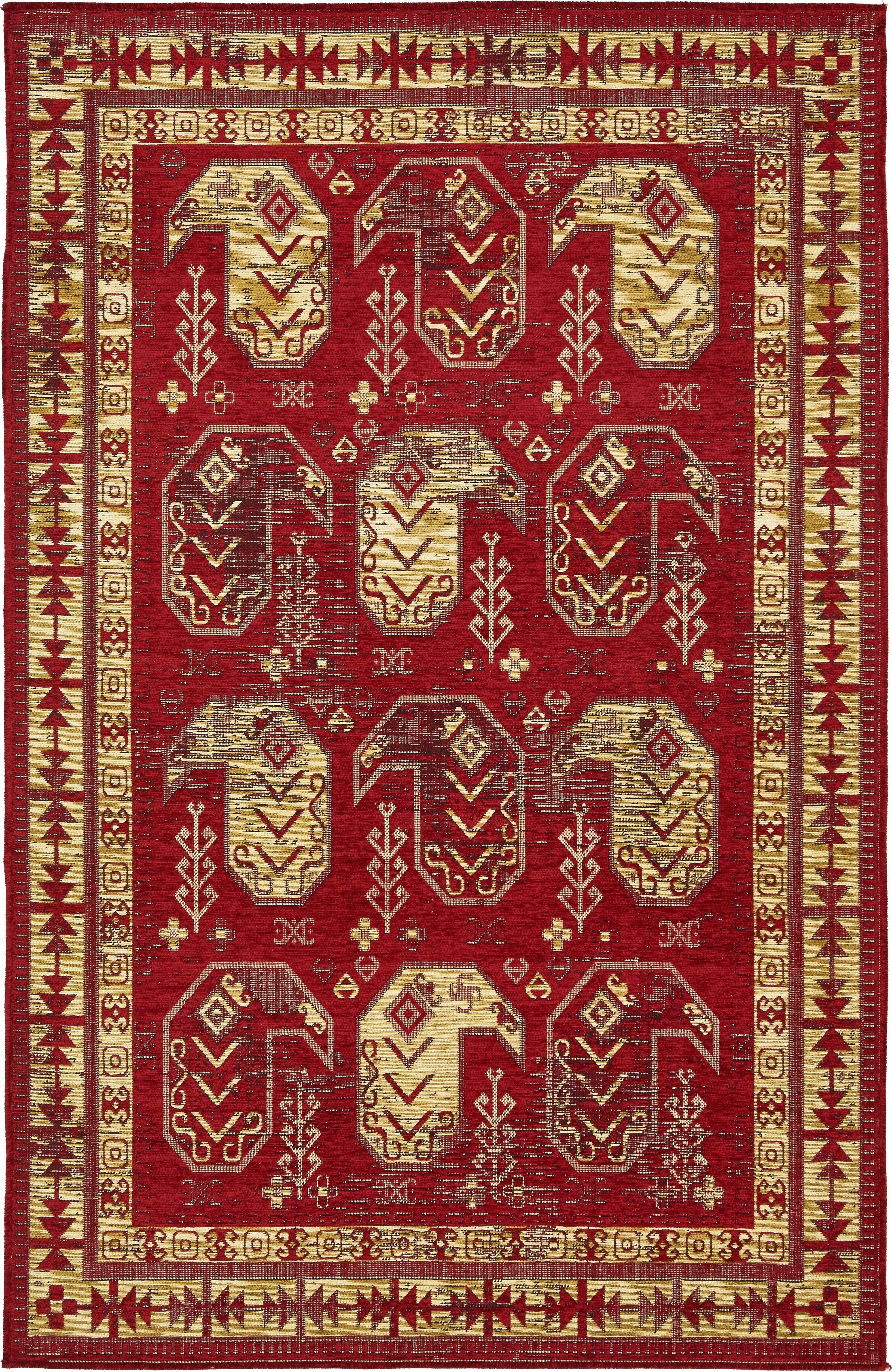 Bhakta Red/Gold/Ivory Area Rug Rug Size: Runner 2'9