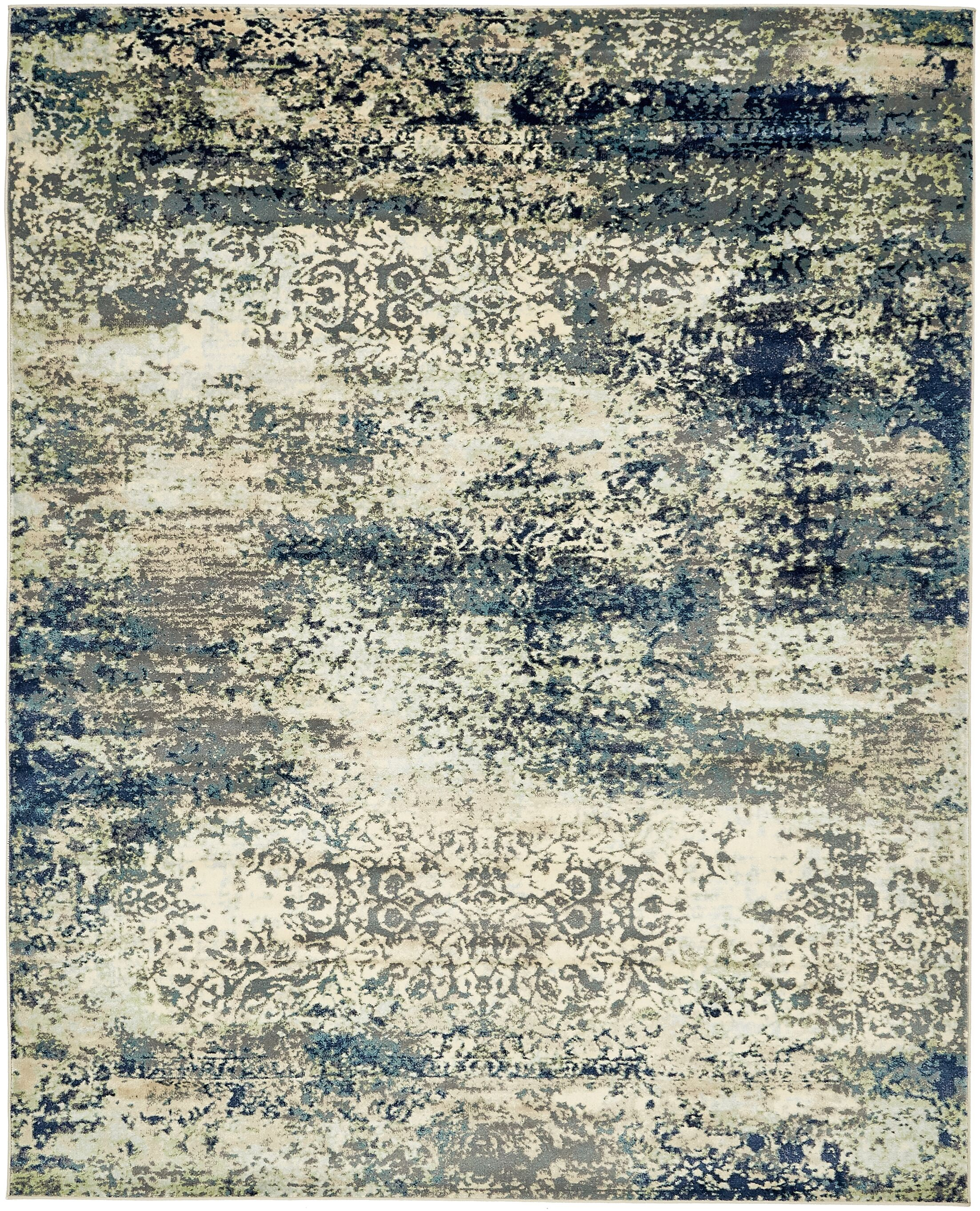 Jani Beige/Navy Blue Area Rug Rug Size: Rectangle 8' x 10'