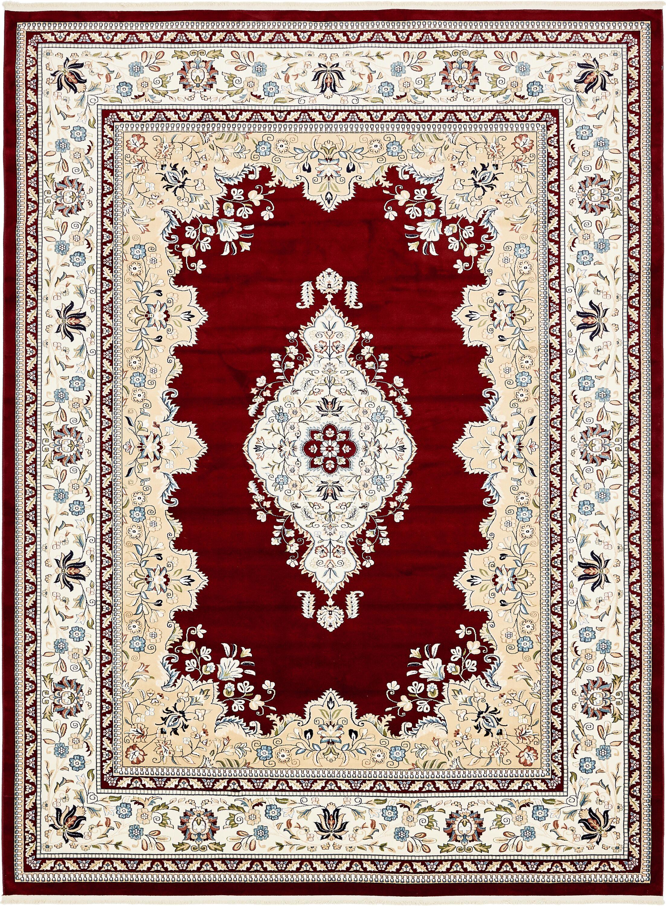 Amaris Burgundy/Tan Area Rug Rug Size: Rectangle 10' x 13'
