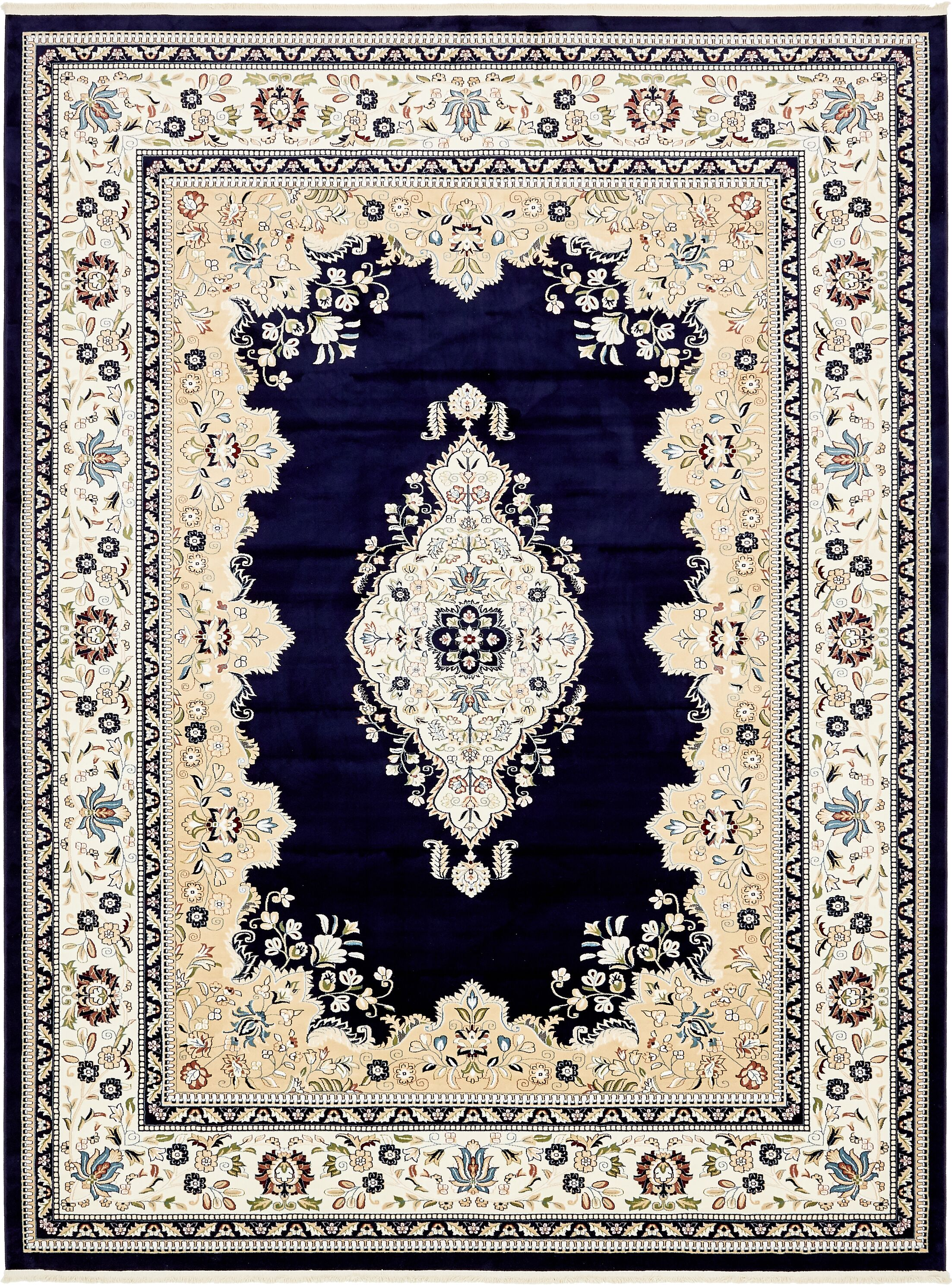 Amaris Navy Blue/Ivory Area Rug Rug Size: Rectangle 10' x 13'